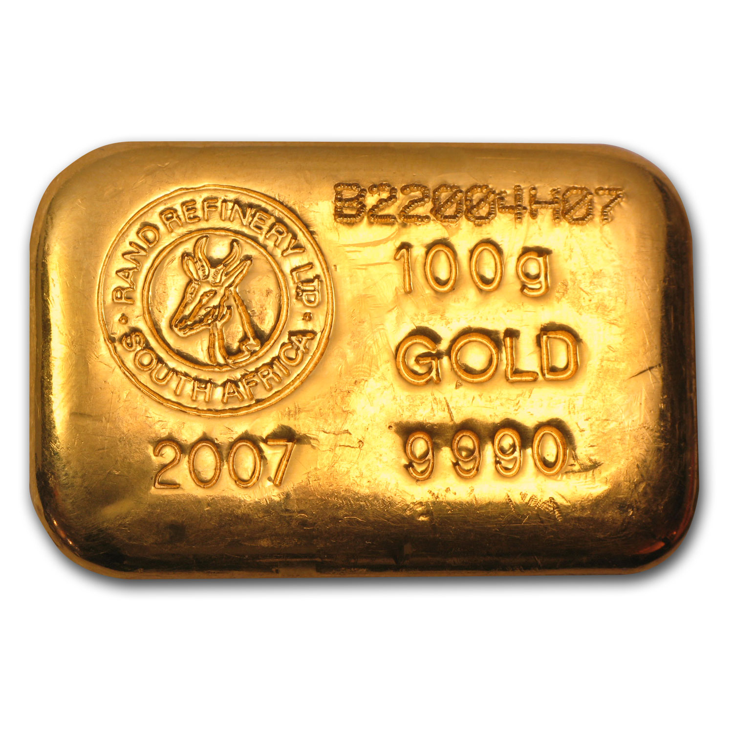 100 gram Gold Bar - Rand Refinery (Cast)