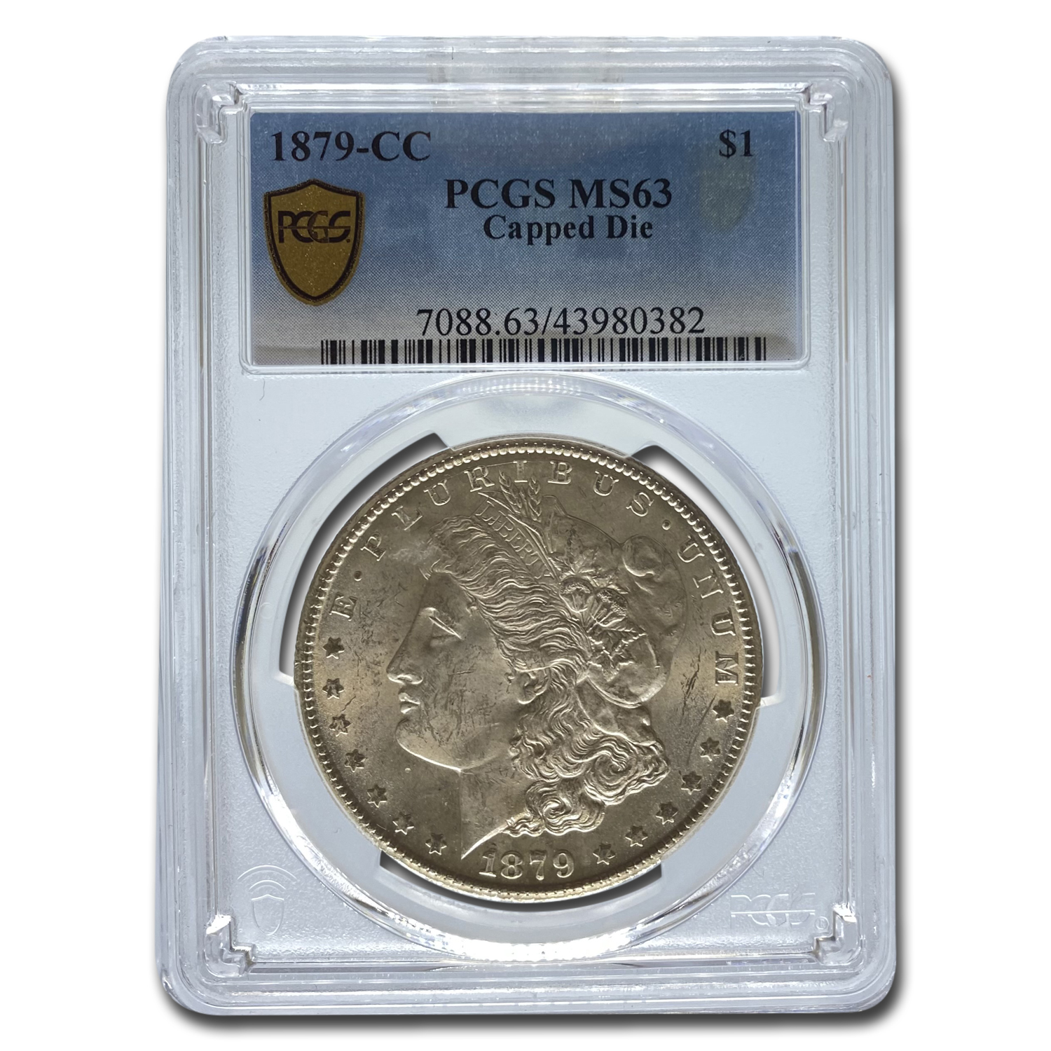 1879-CC Morgan Dollar - MS-63 PCGS - Capped CC