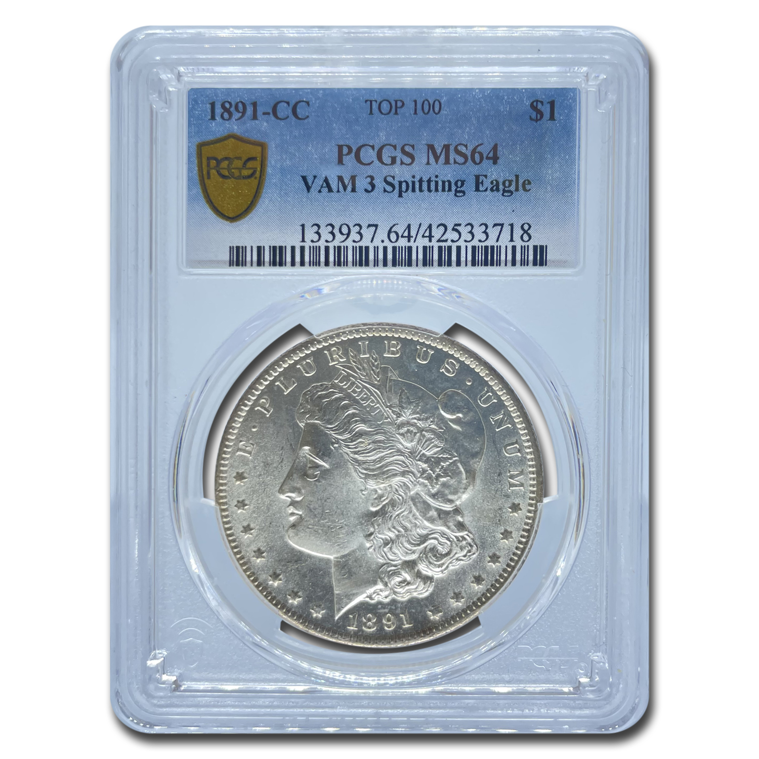 1891-CC Morgan Dollar MS-64 PCGS (VAM-3, Spitting Eagle, CAC)