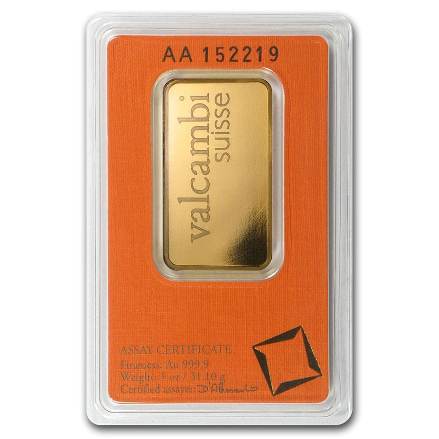1 oz Gold Bars - Valcambi (In Assay)