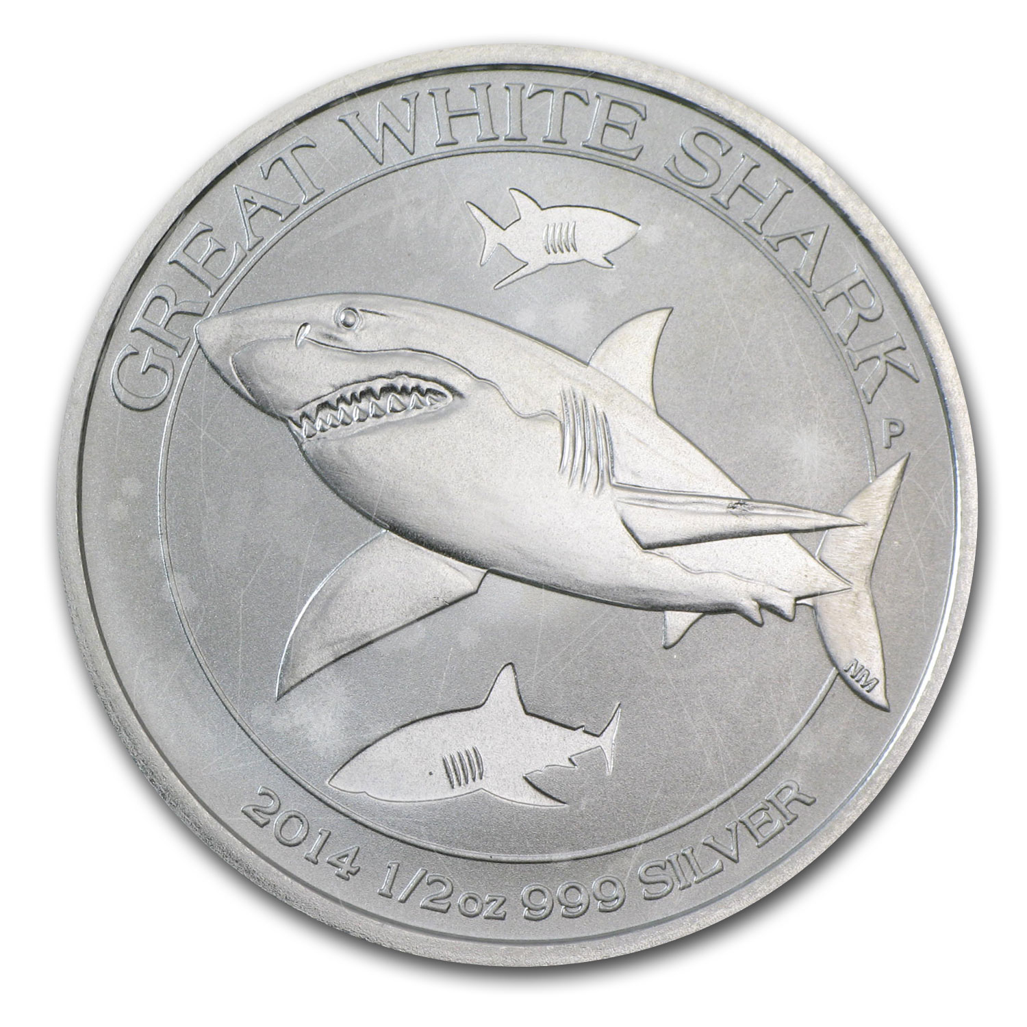 2014 1/2 oz Silver Australian Great White Shark (Abrasions)