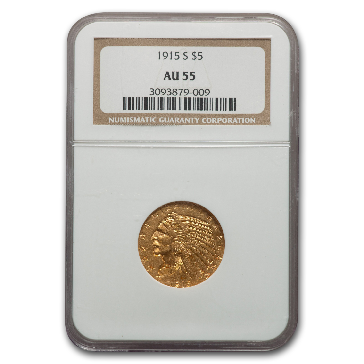 1915-S $5 Indian Gold Half Eagle AU-55 NGC