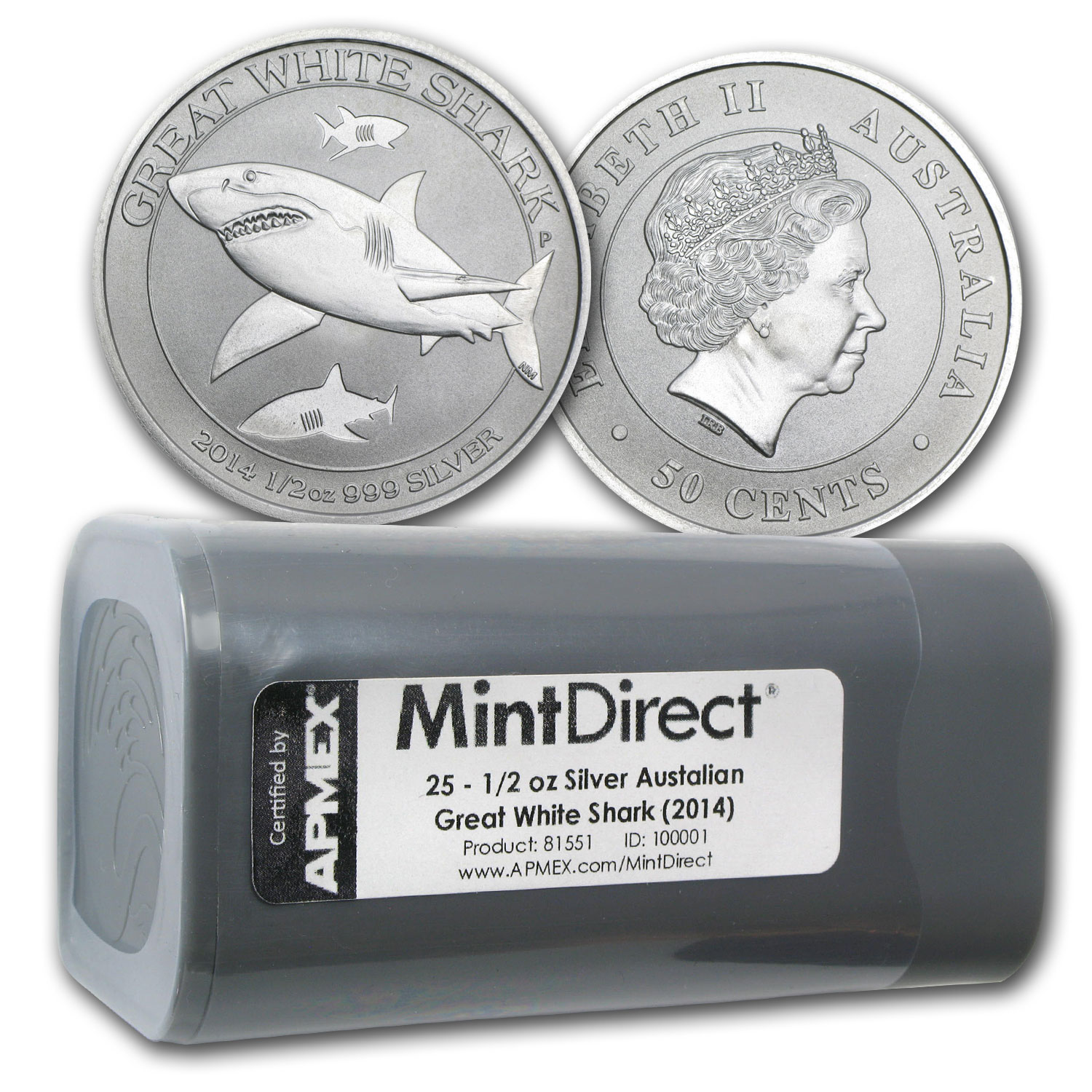 2014 1/2 oz Silver Great White Shark (25-Coin MintDirect® Tube)