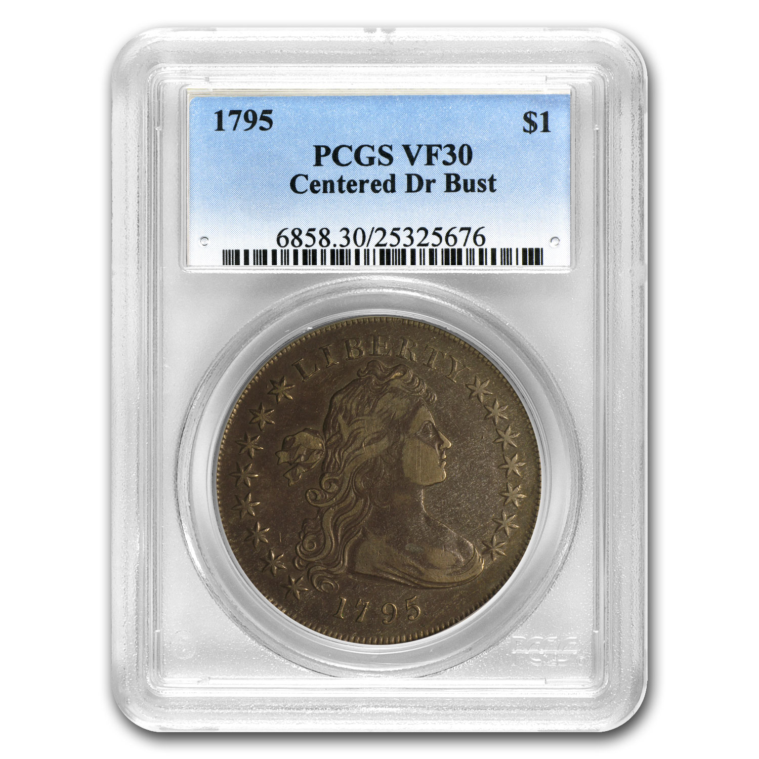 1795 Draped Bust Dollar Centered Bust VF-30 PCGS