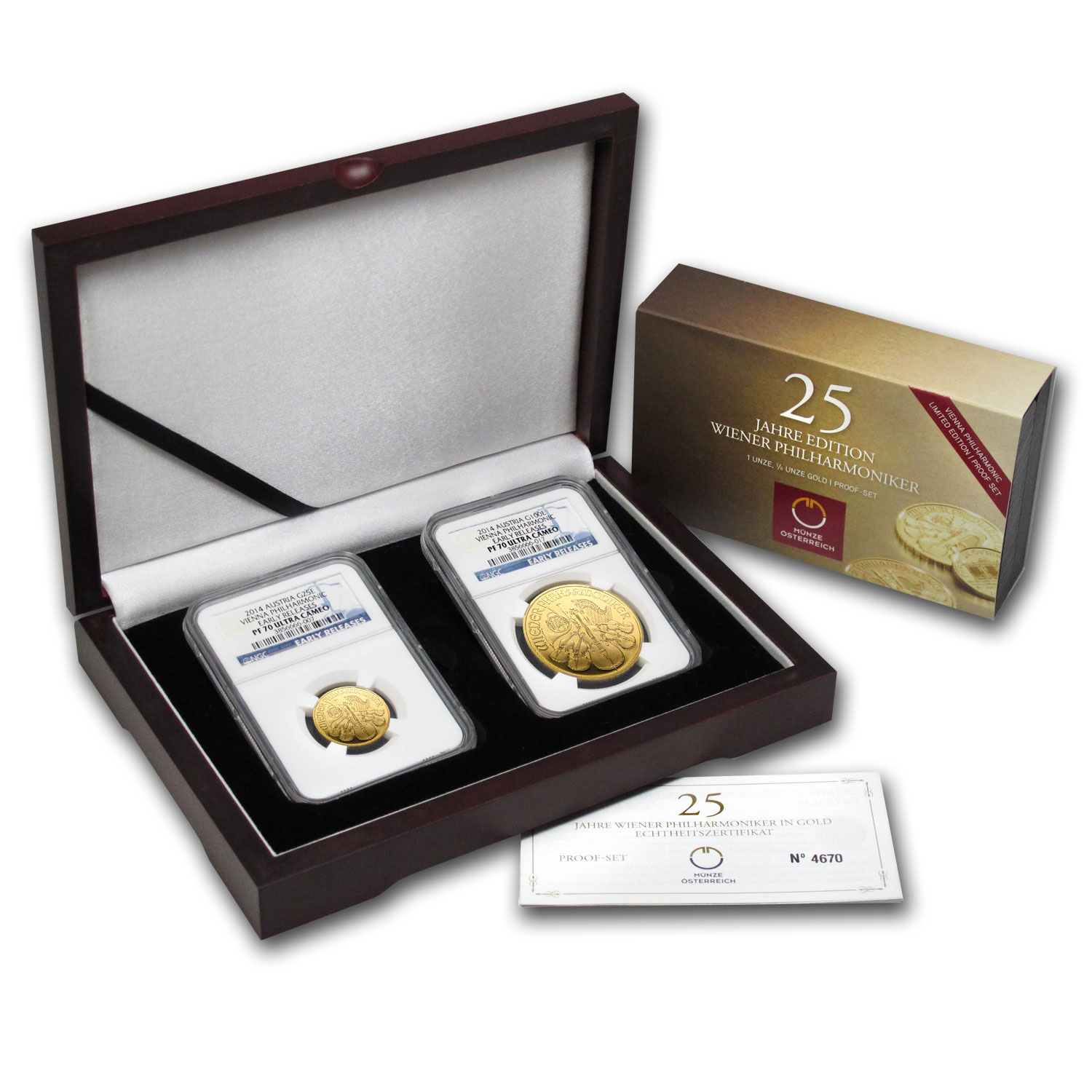 2014 2-Coin Gold Austrian Philharmonic Proof Set PF-70 NGC (ER)