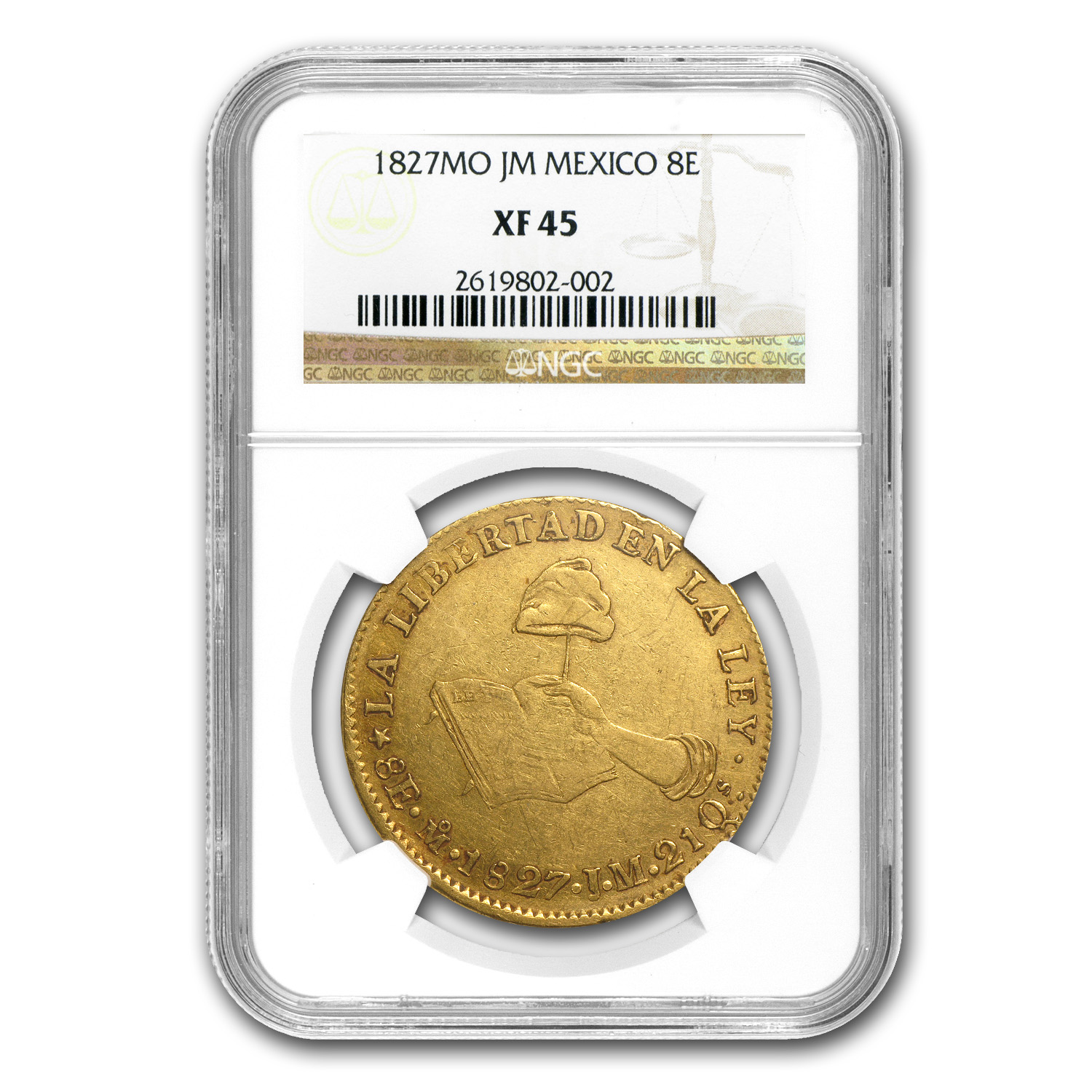 1827 Mexico Gold Eight Escudos XF-45 NGC