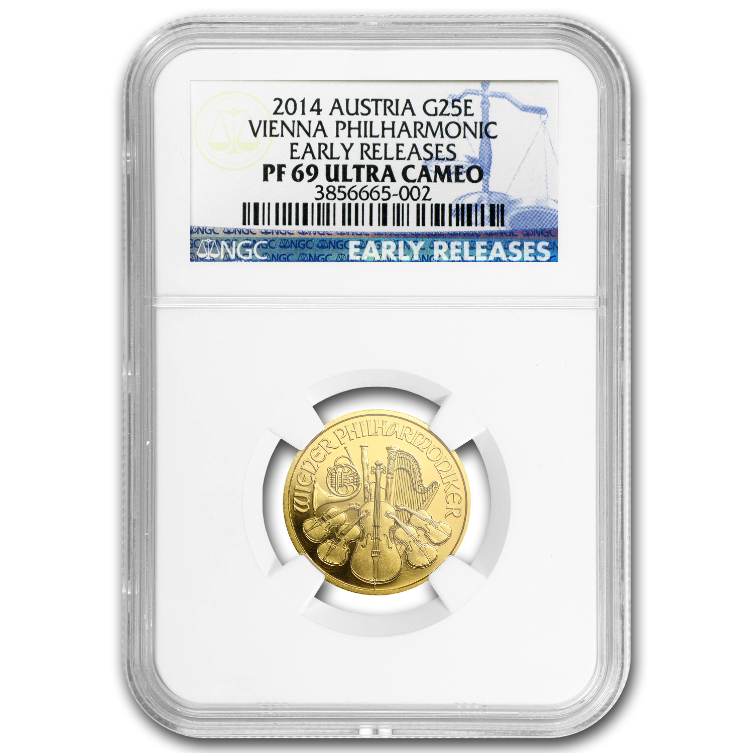 2014 1/4 oz Proof Gold Austrian Philharmonic PF-69 NGC (ER)