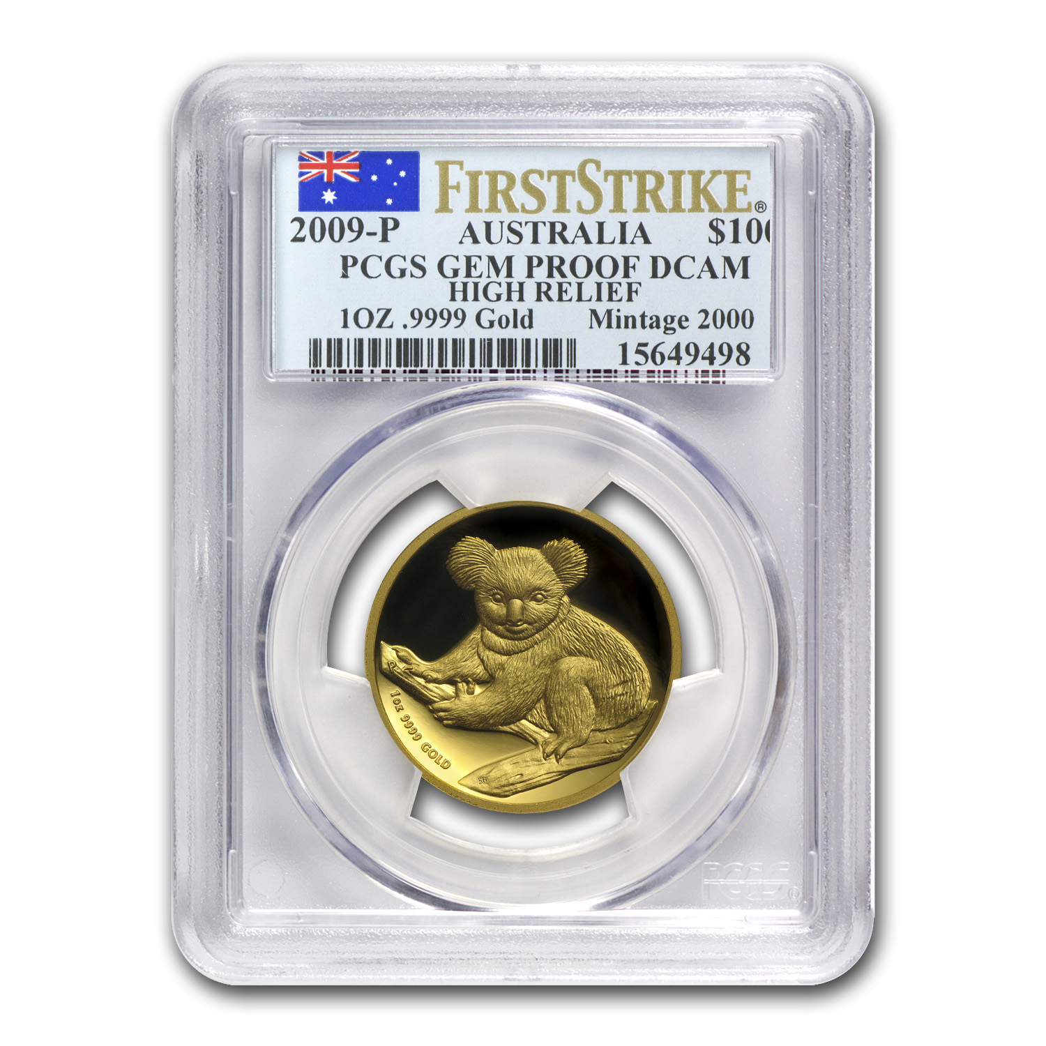 2009-P Australia 1 oz Gold Koala Gem Prf PCGS (FS, High Relief)
