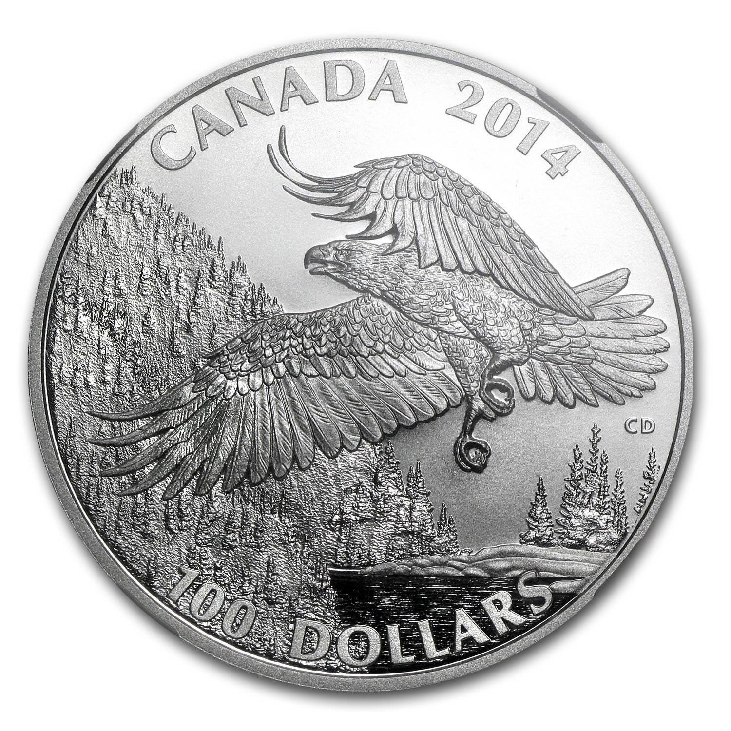 2014 1 oz Silver Canadian Majestic Bald Eagle PF-70 Matte NGC