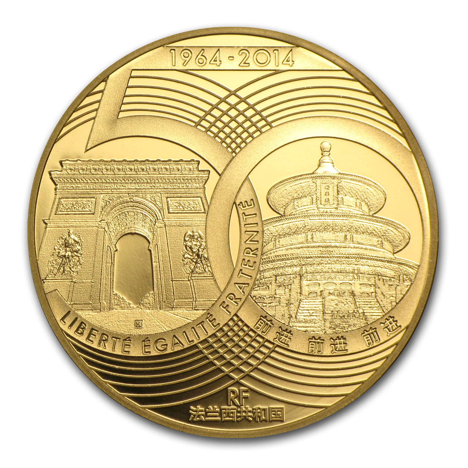 2014 1/4 oz Gold France - China- 50 Years of Diplomatic Relations