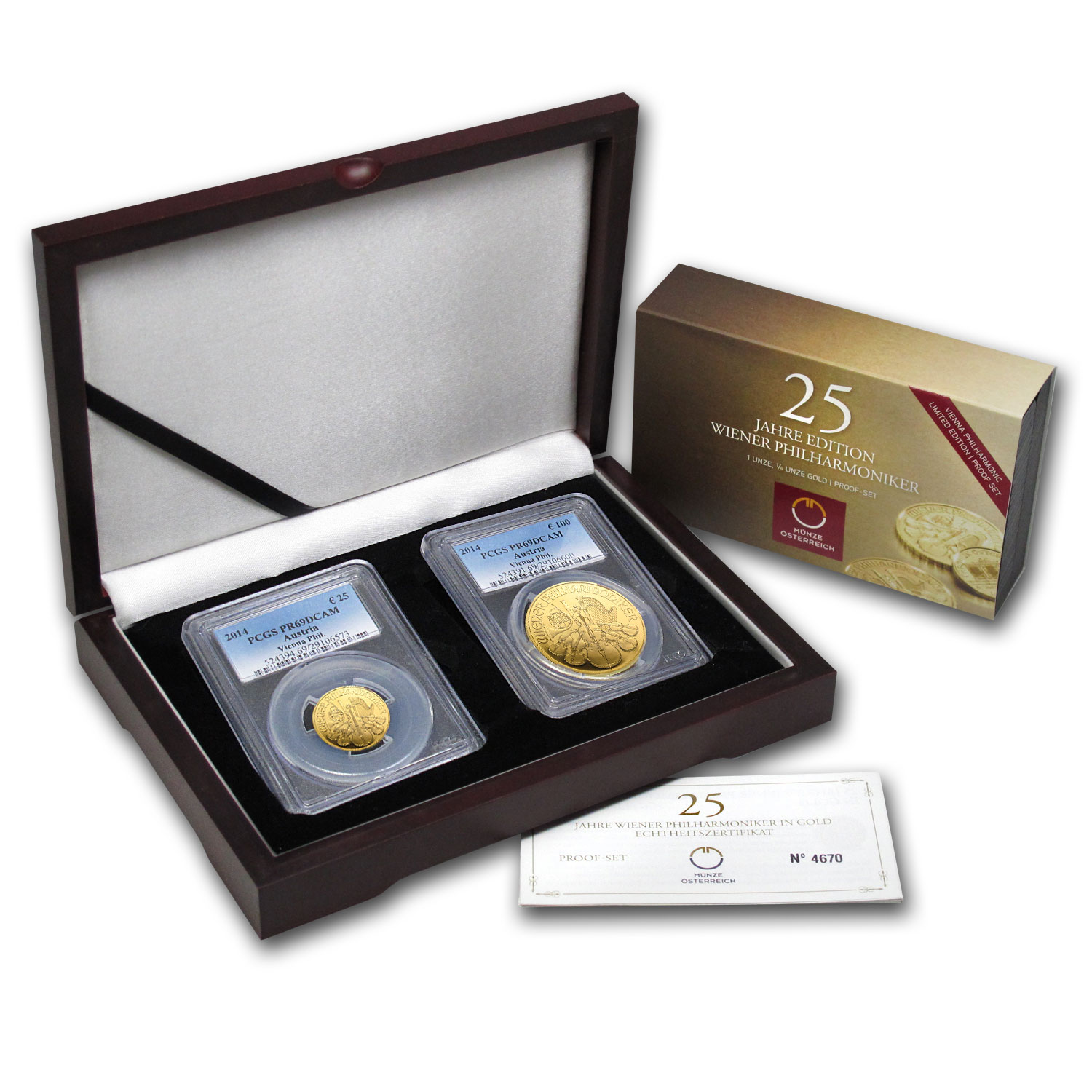 2014 2-Coin Gold Austrian Philharmonic Proof Set PR-69 DCAM PCGS