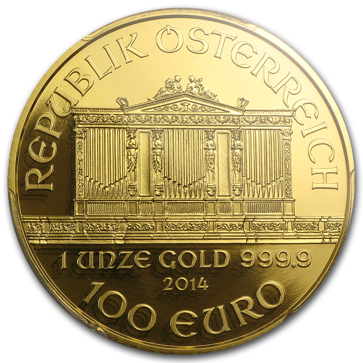 2014 1 oz Proof Gold Austrian Philharmonic PR-70 PCGS