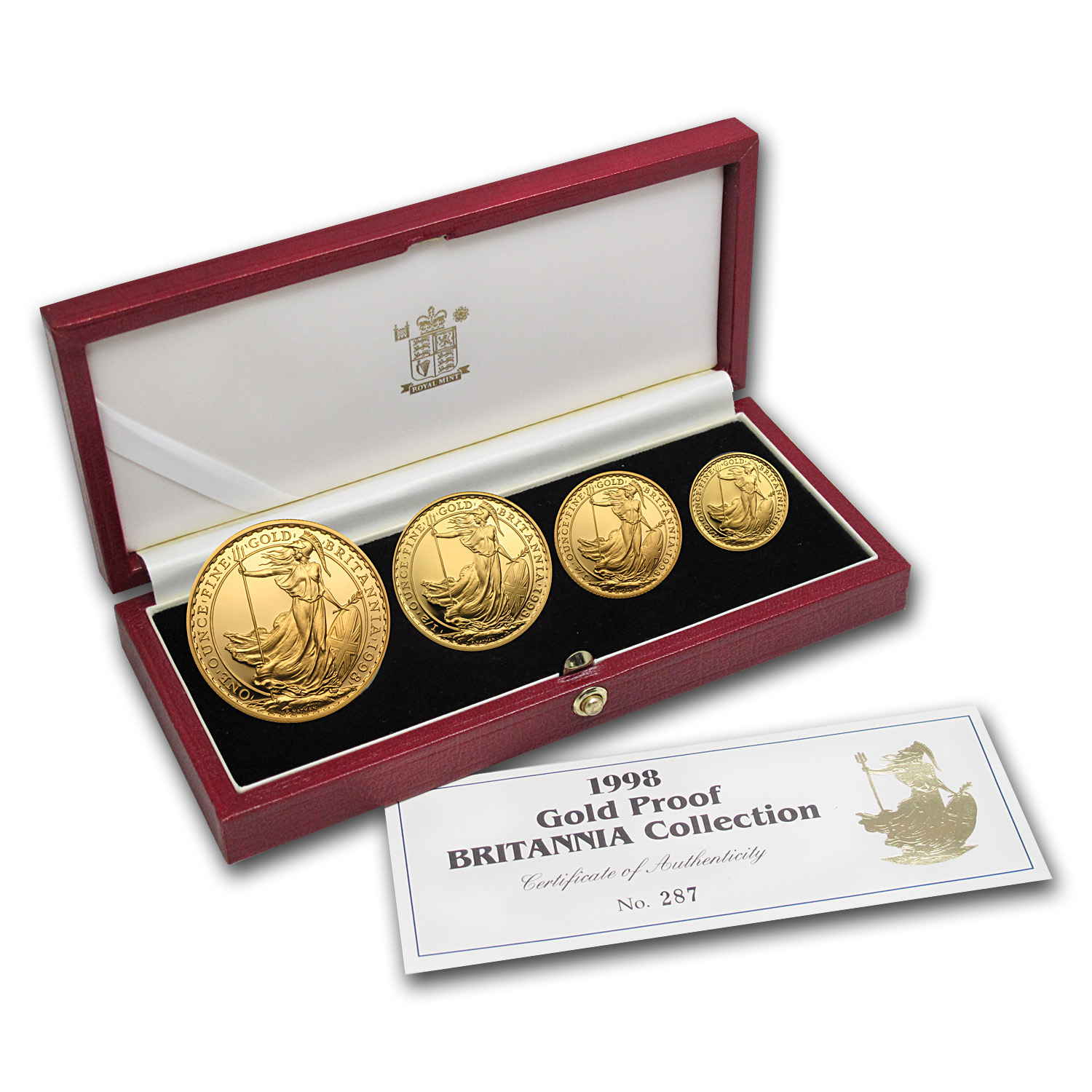 1998 4-Coin Proof Gold Britannia Set (W/Box & Coa)