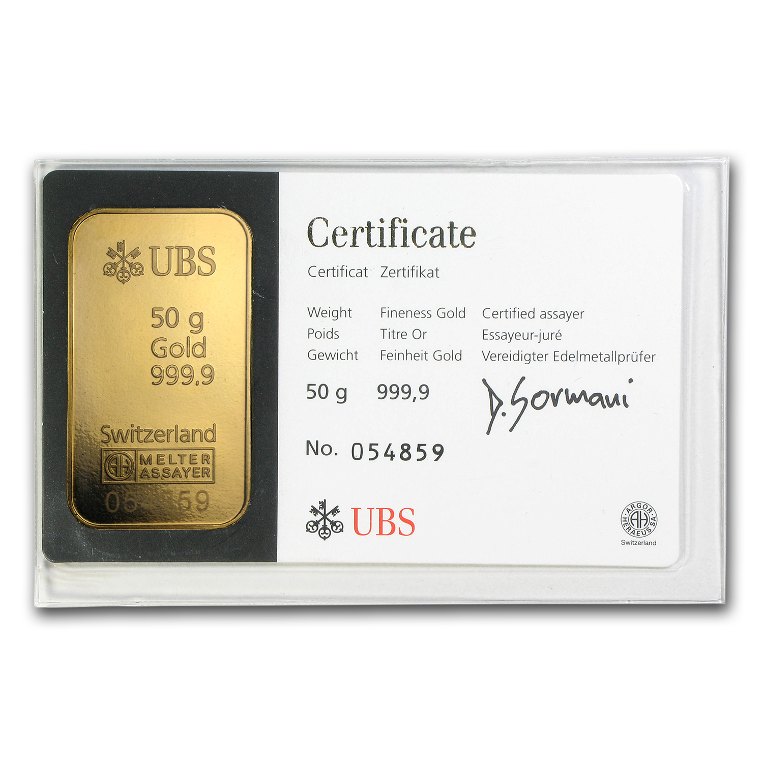 50 gram Gold Bar - UBS (In Assay)