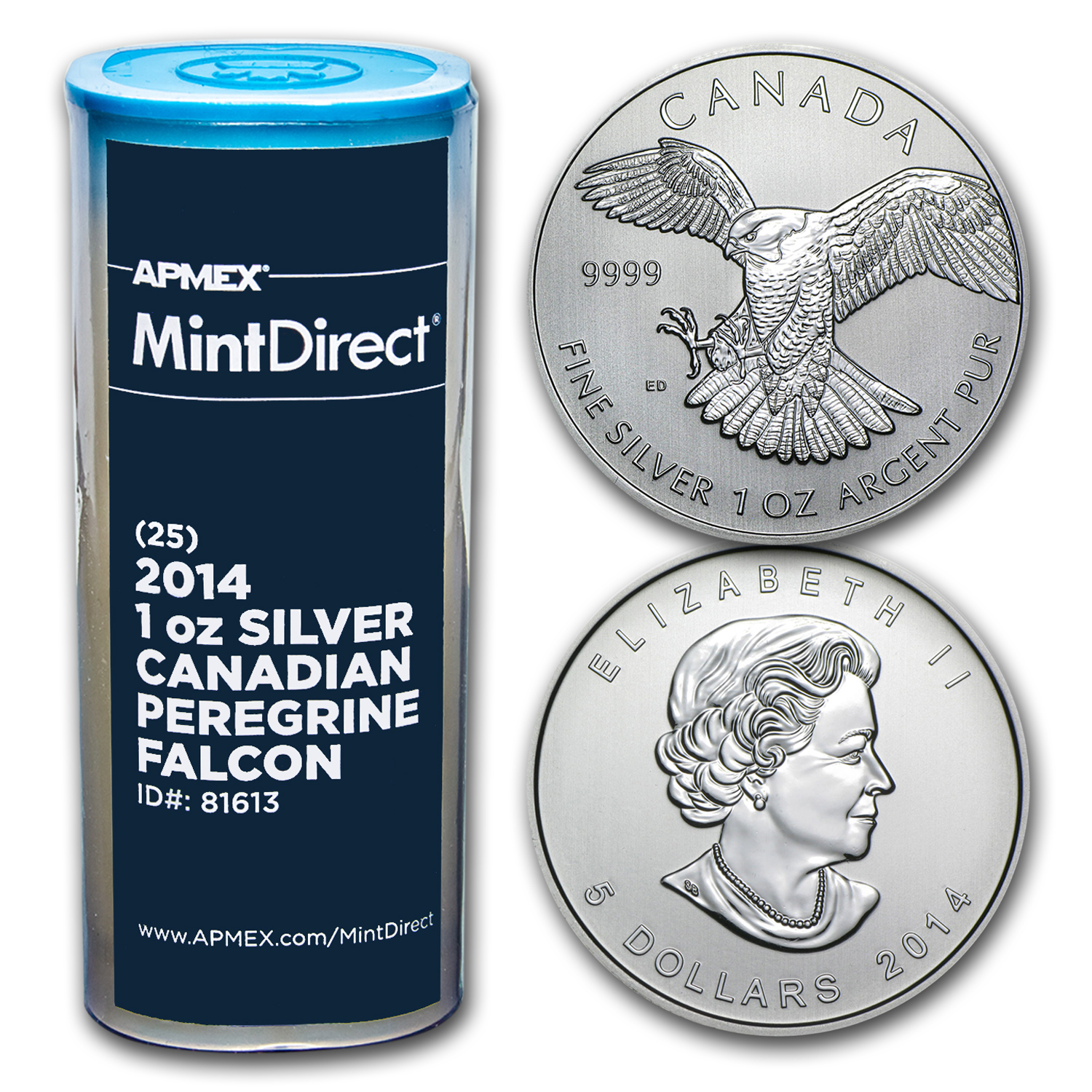 2014 RCM 1 oz Silver Peregrine Falcon (25-Coin MintDirect® Tube)