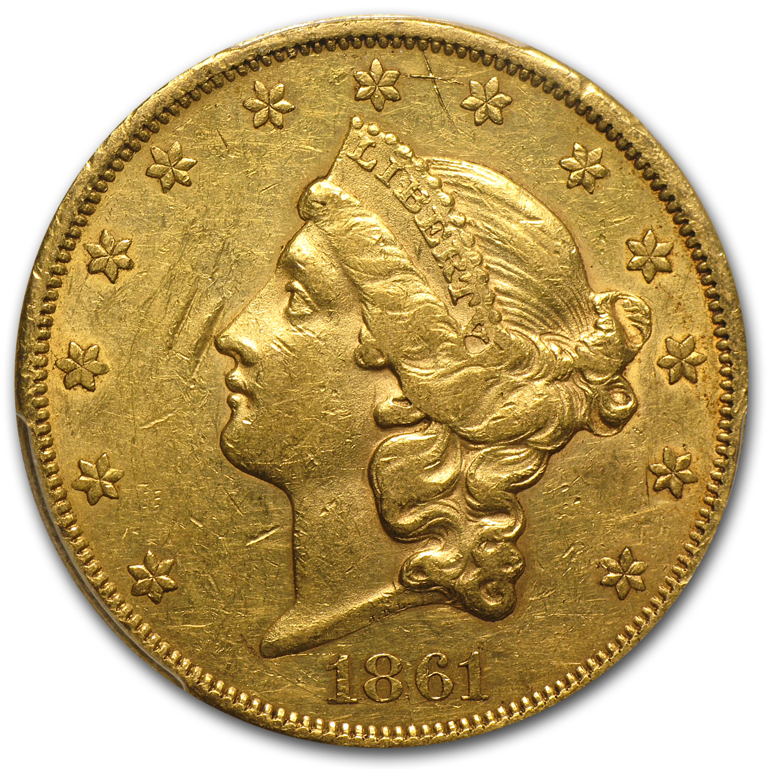 1861 $20 Liberty Gold Double Eagle AU-55 Details PCGS (Graffiti)
