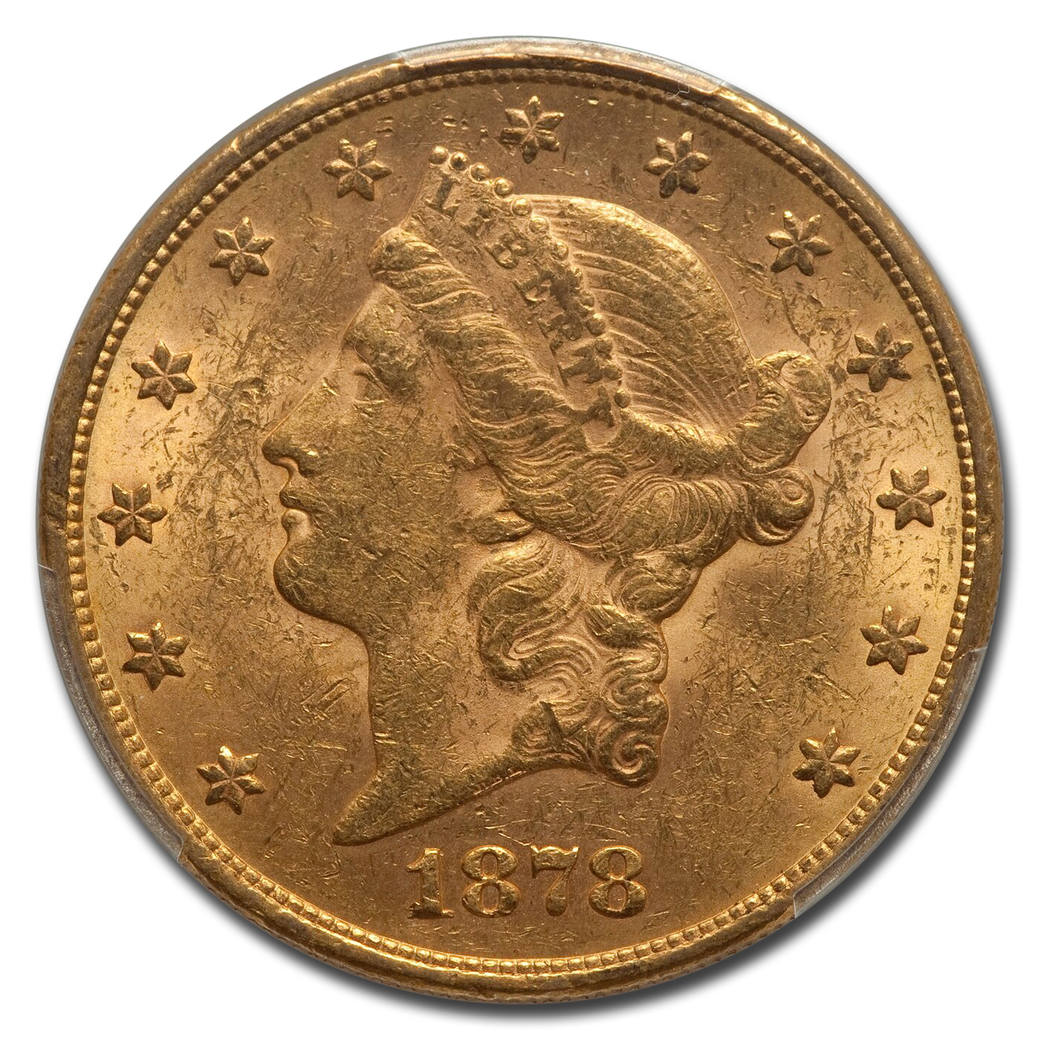 1878 $20 Liberty Gold Double Eagle AU-58 PCGS