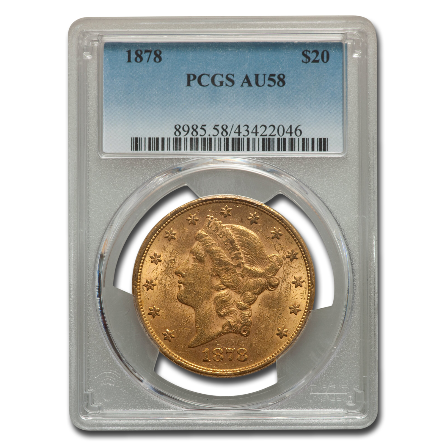 1878 $20 Gold Liberty Double Eagle AU-58 PCGS