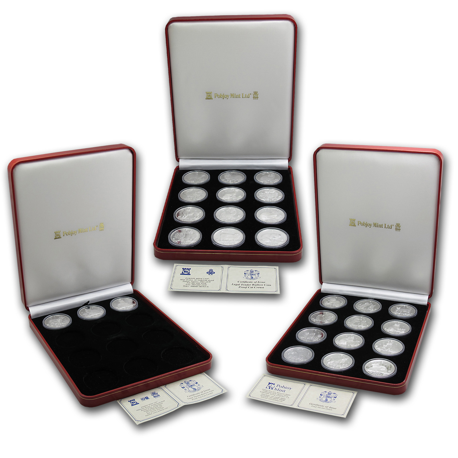 Isle of Man 1 oz Silver Proof Cat Complete 27 Coin Set 1988-2014