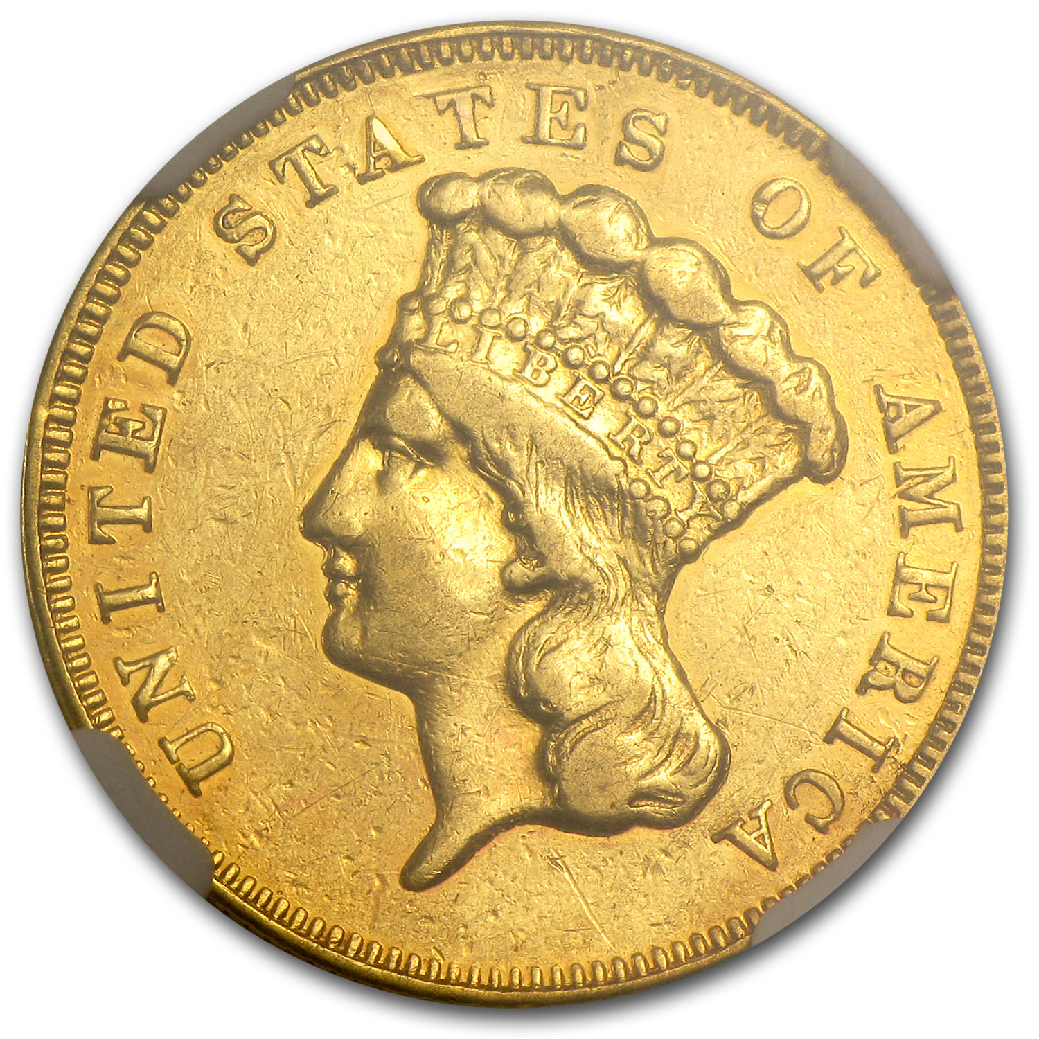 1861 $3 Gold Princess AU Details NGC (Harshly Cleaned)