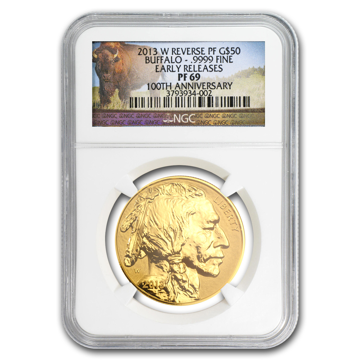 2013-W 1 oz Rev Proof Gold Buffalo Proof-69 PCGS/NGC (Random)