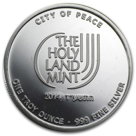 2014 1 Oz Silver Round Jerusalem City Of Peace Holy