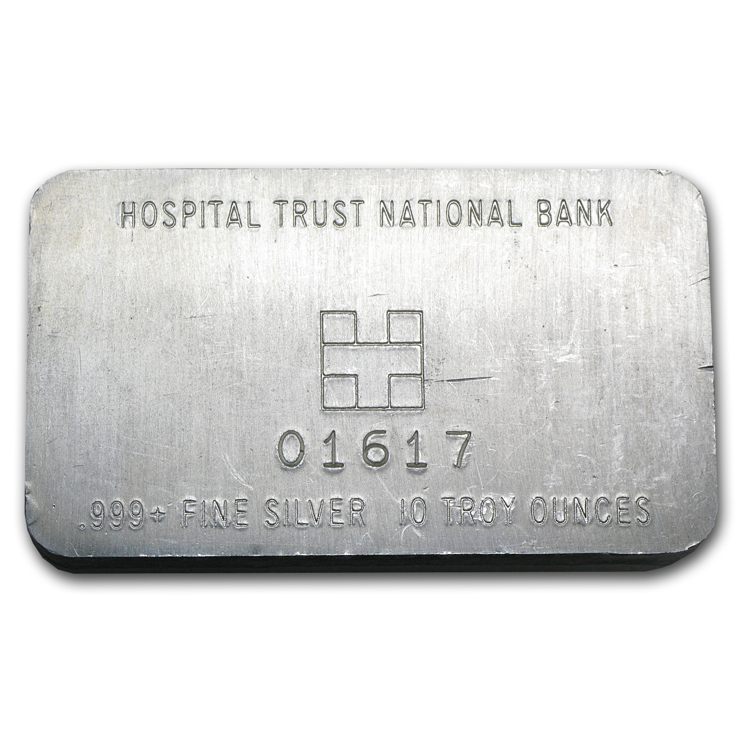 10 oz Silver Bar - Hospital Trust National Bank (Pressed)