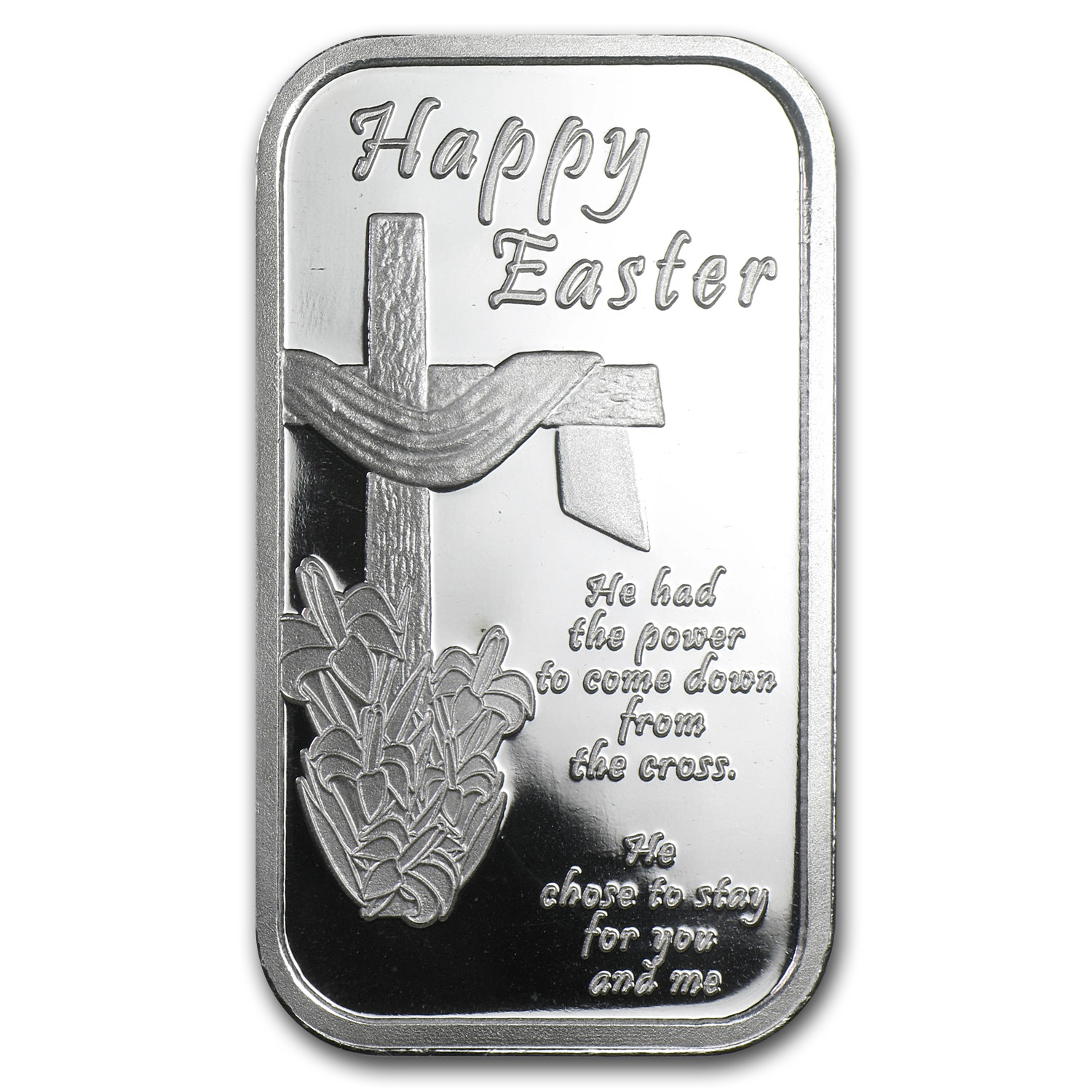 1 oz Silver Bars - 2014 Happy Easter Cross (w/Box & Capsule)