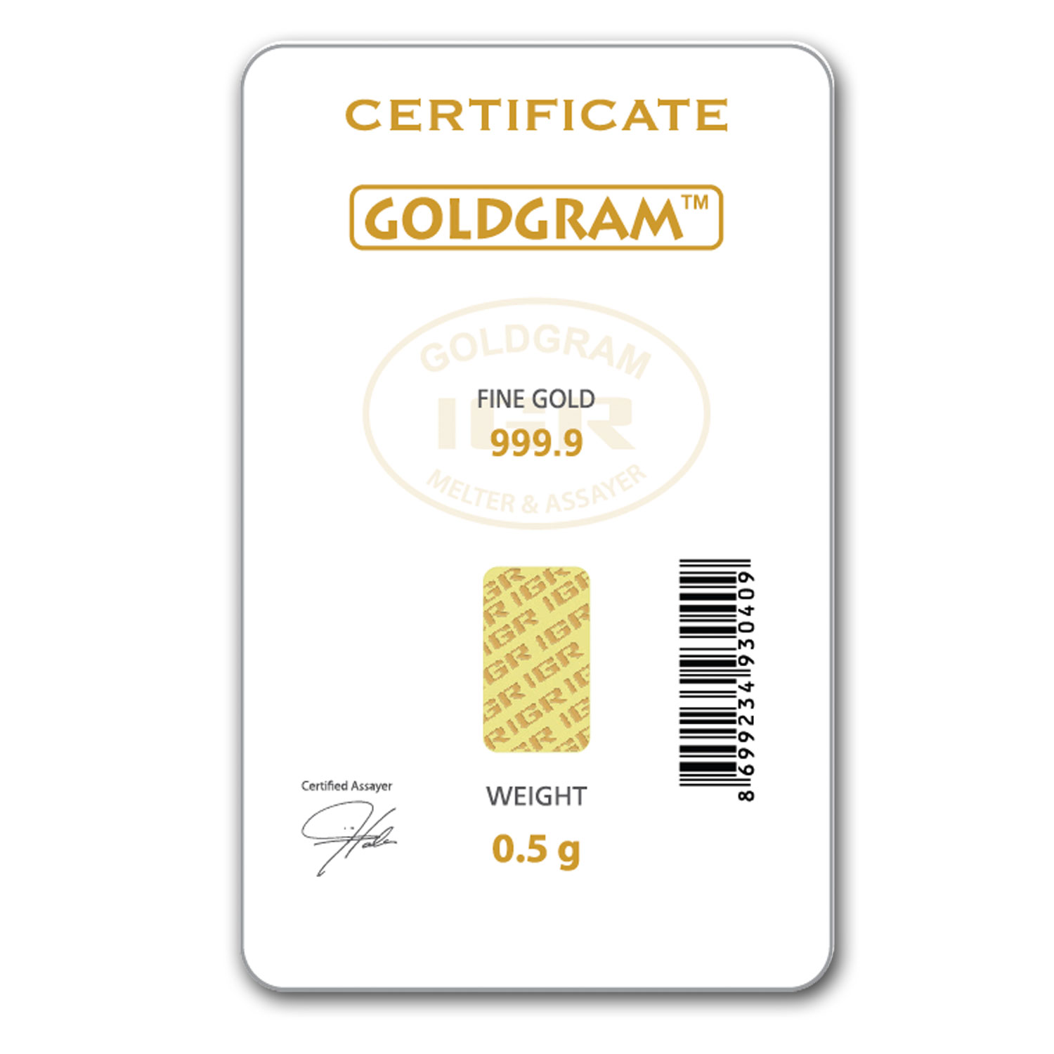 1/2 gram Gold Bar - Istanbul Gold Refinery (Easter Assay)