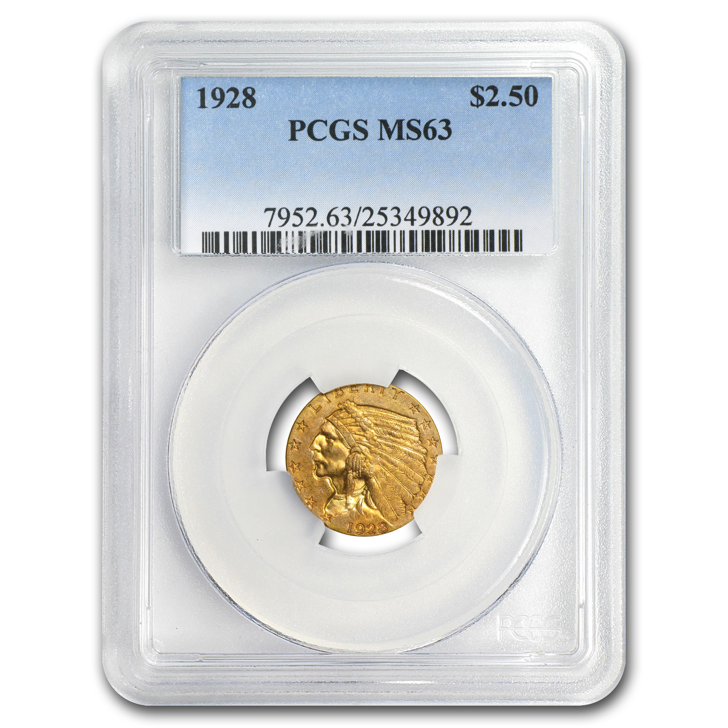 5-Coin $2.50 Indian Gold Quarter Eagle Set MS-63 PCGS (1920s)