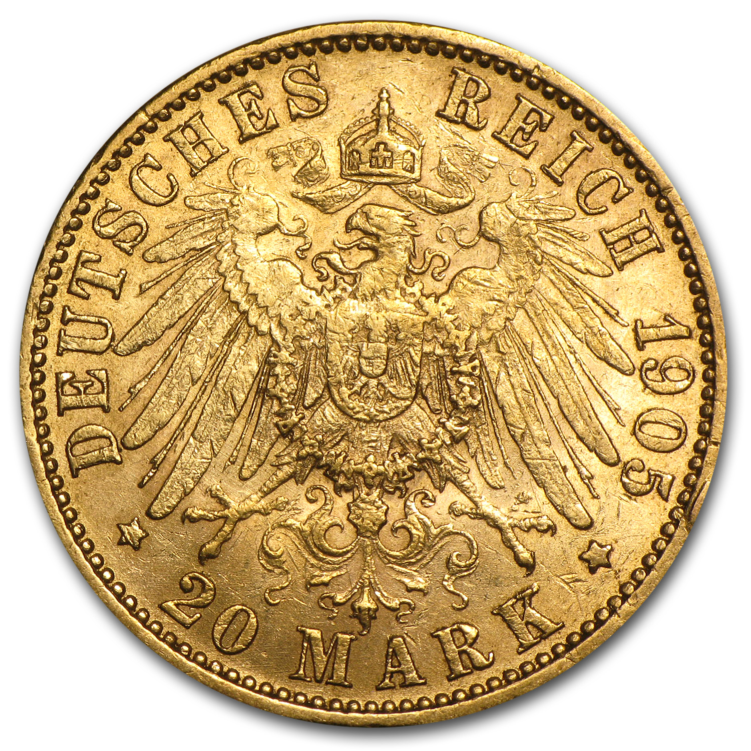 Germany (Prussia) 1905-J Gold 20 Mark (EF)