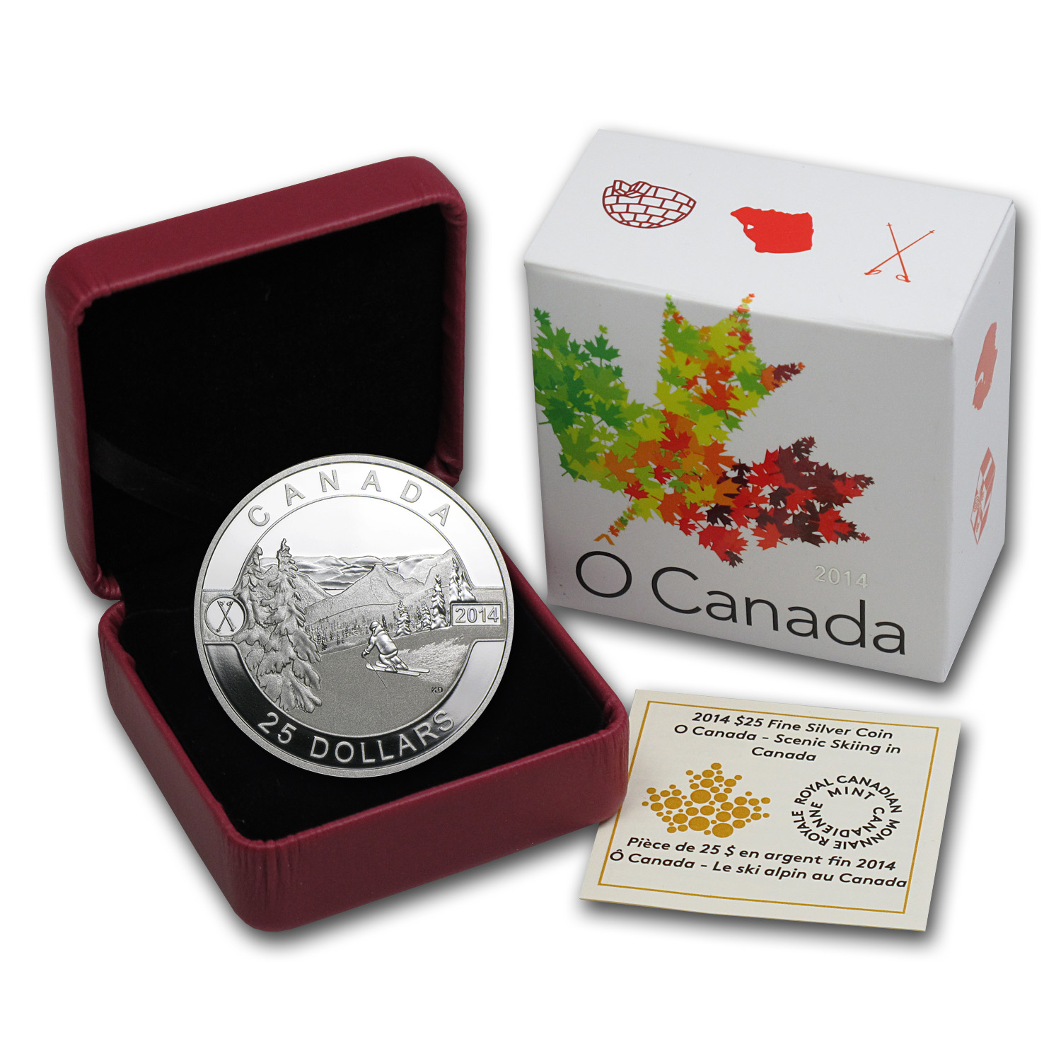 2014 1 oz Silver Canadian $25 Coin - Scenic Skiing in Canada