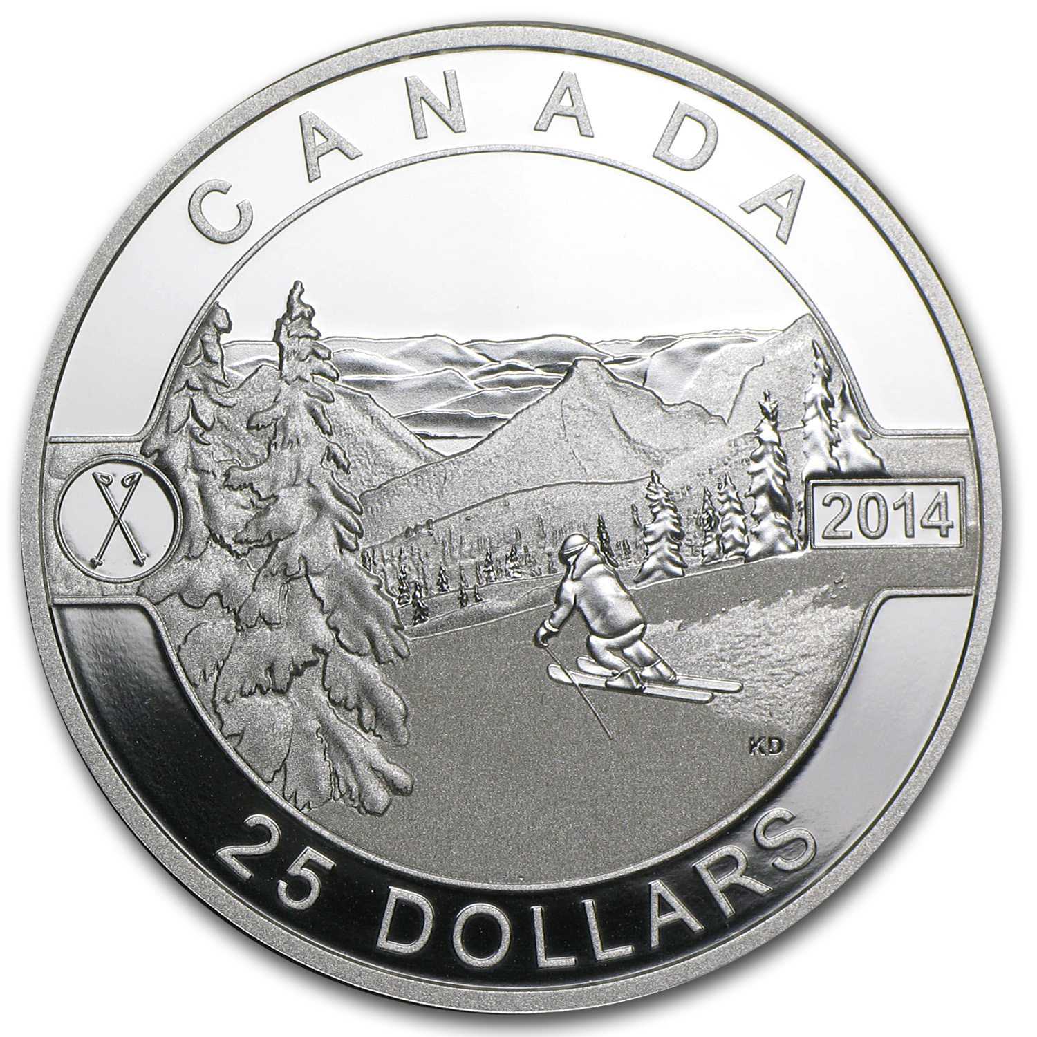 2014 1 oz Silver Canadian $25 Scenic Skiing in Canada