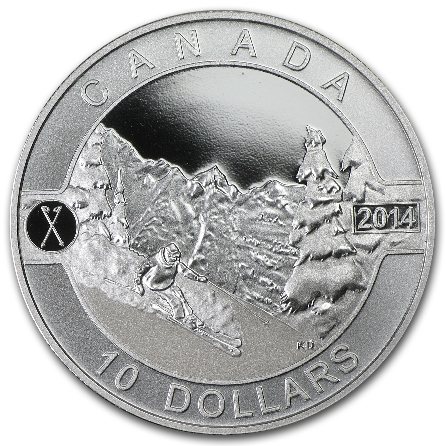 2014 1/2 oz Silver Canadian $10 - Skiing Canada's Slopes