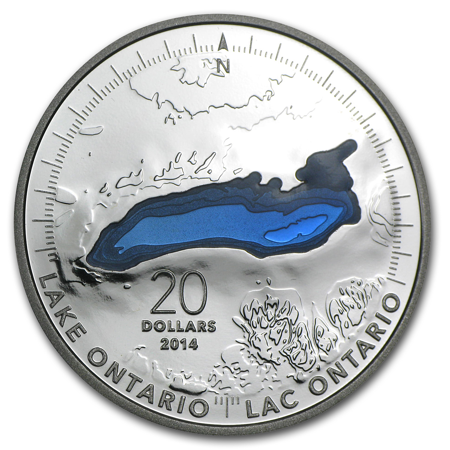 2014 1 oz Silver Canadian $20 The Great Lakes - Lake Ontario