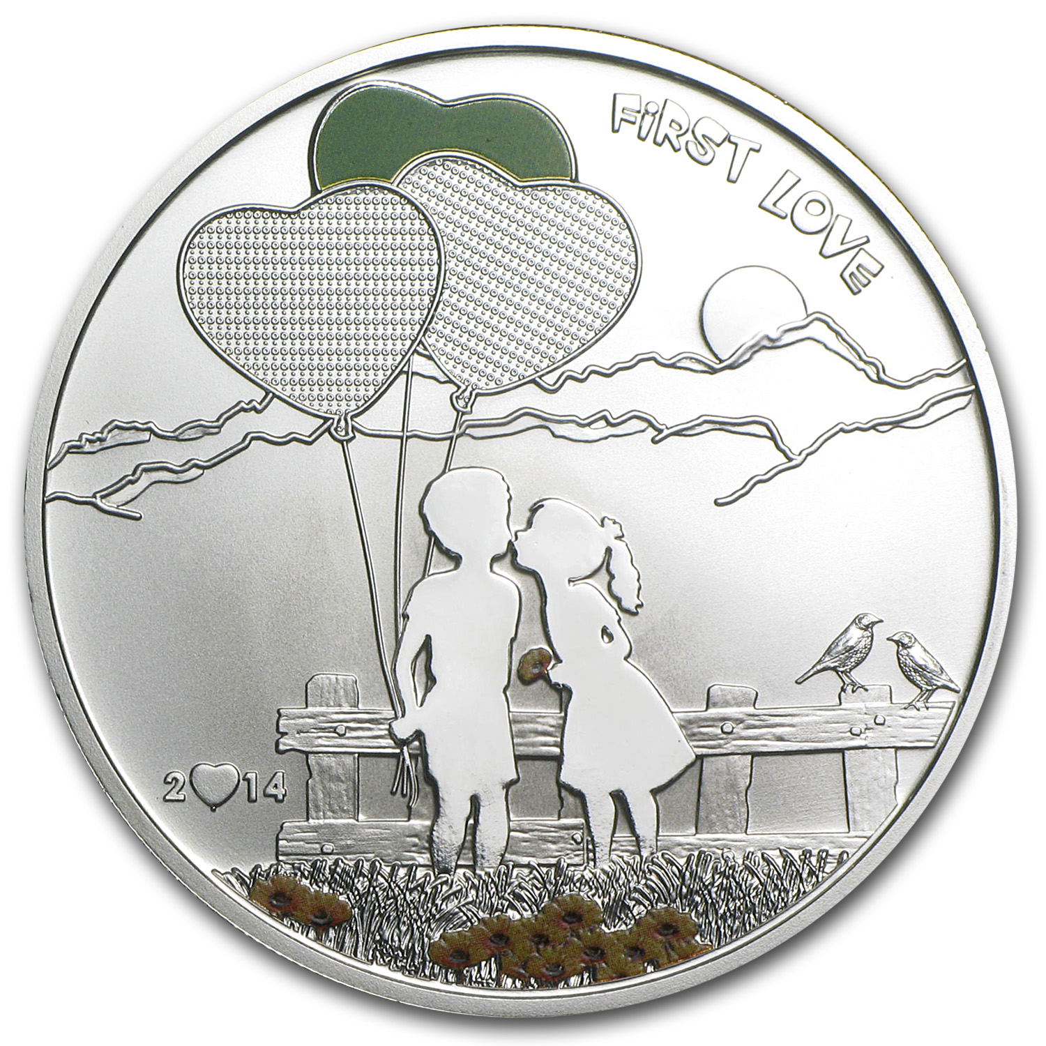 Cook Islands 2014 Silver Proof Paint Your Coin - First Love