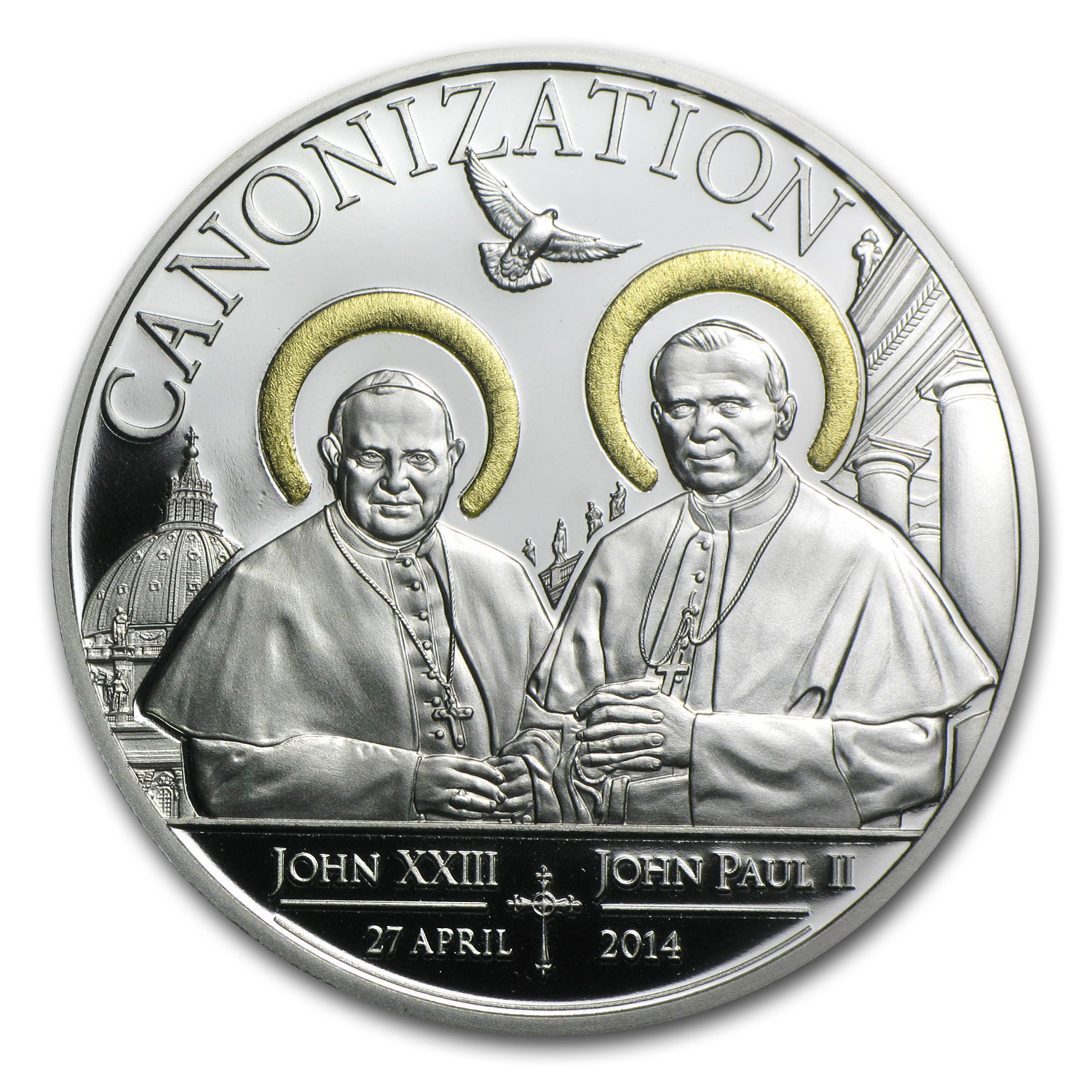 2014 Tanzania Silver Canonization of the Popes Proof (Gilded)