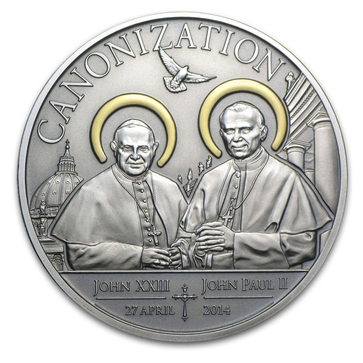 2014 Tanzania Silver Antique Finish Canonization of the Popes