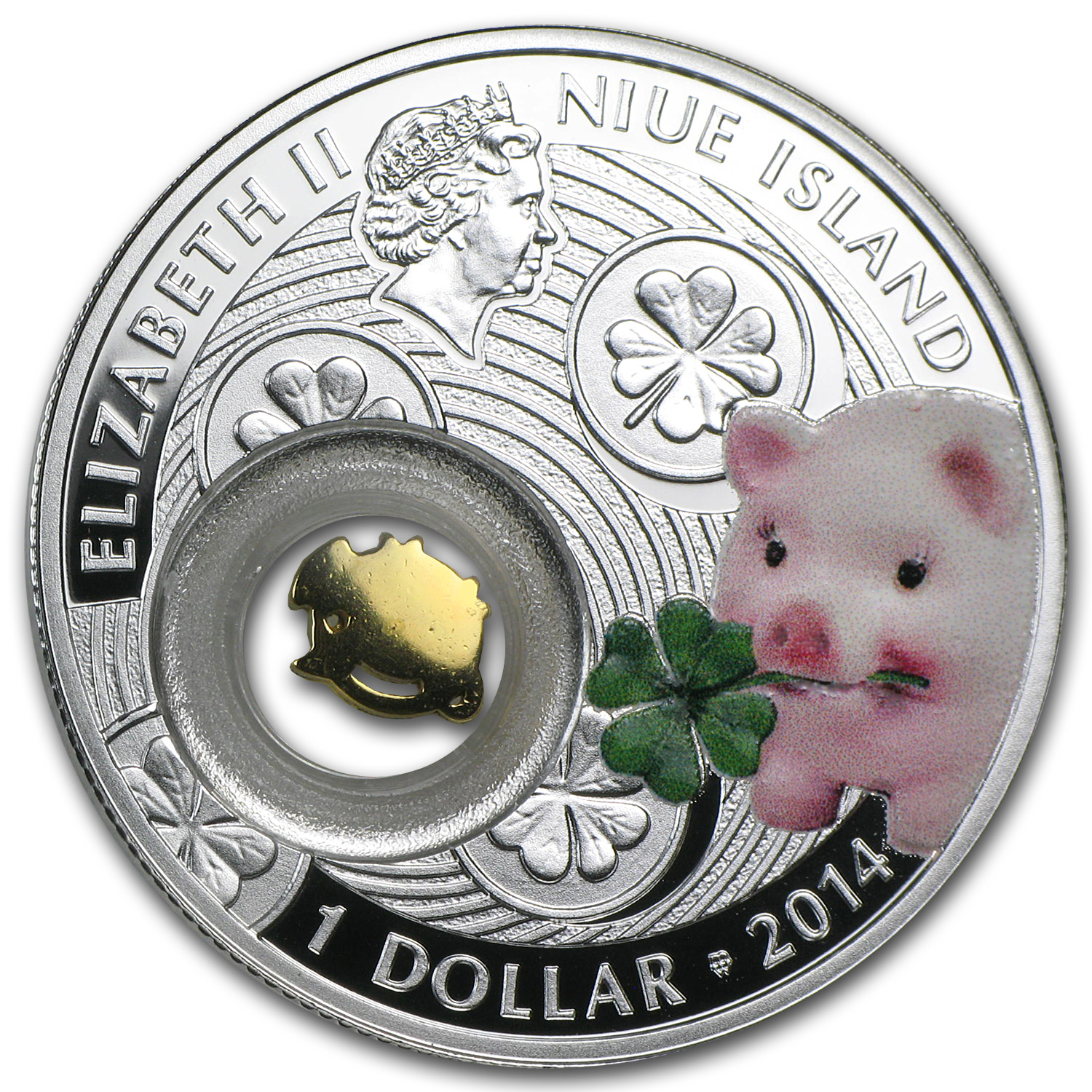 2014 Niue Proof Silver $1 Good Luck Series Piggy