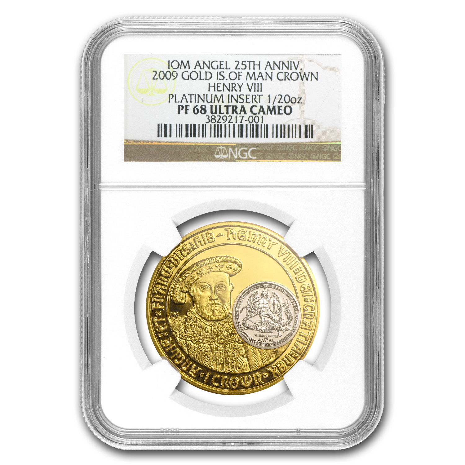 2009 Isle of Man 1 oz Gold 1/20 oz Platinum Henry VIII PF-68 NGC