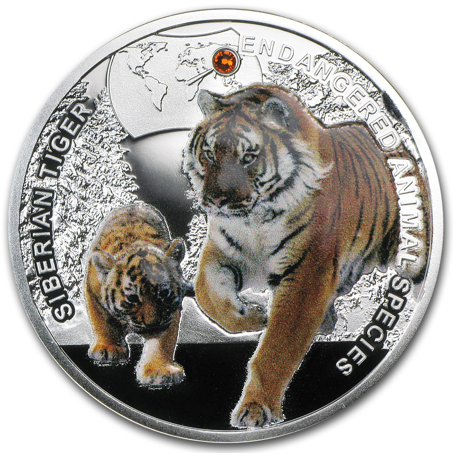 Niue 2014 Proof Silver Endangered Animal Species - Siberian Tiger