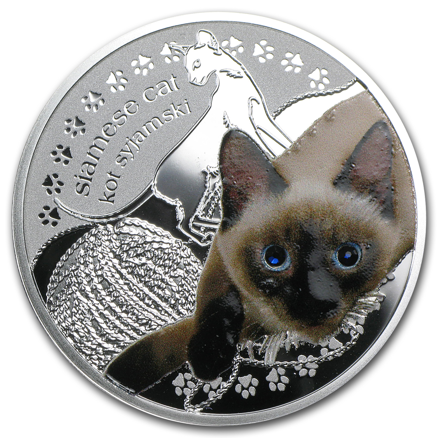 2014 Niue Proof Silver Man's Best Friends Cats Siamese Cat