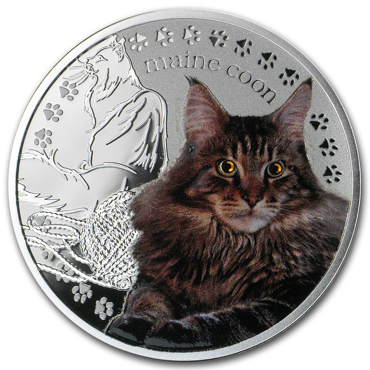 2014 Niue Proof Silver Man's Best Friends Cats Maine Coon