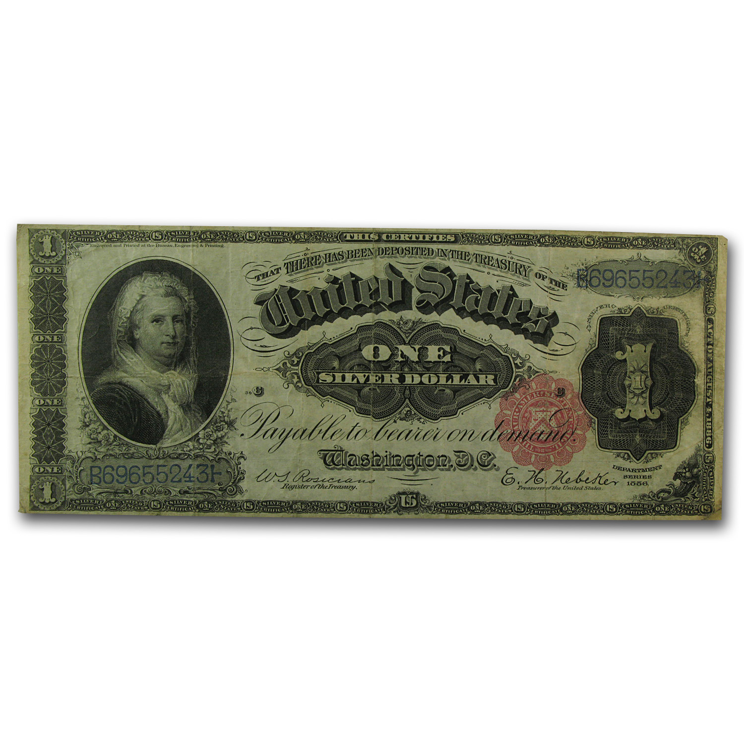 1886 $1.00 Silver Certificate Martha Washington VF