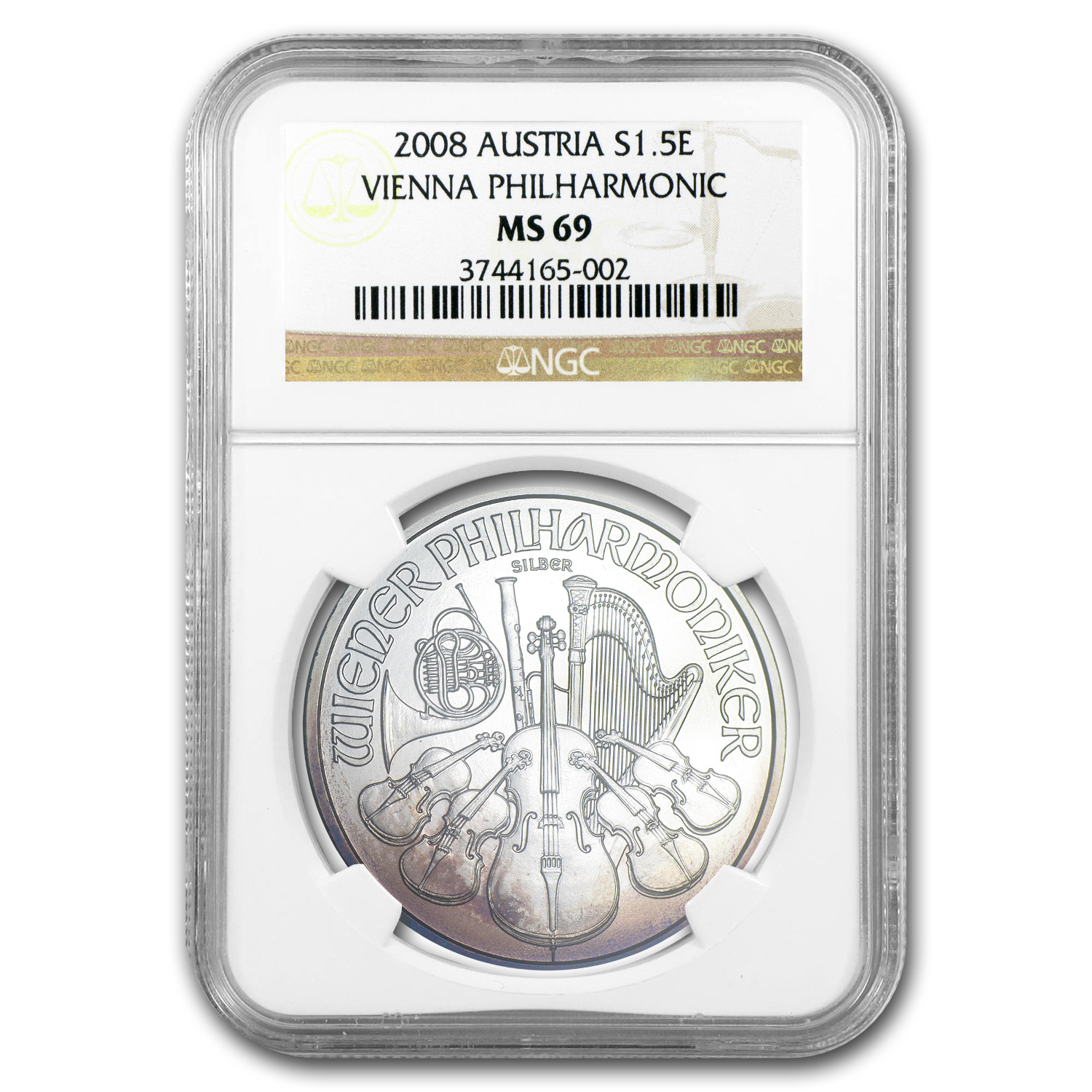 2008 1 oz Silver Austrian Philharmonic MS-69 NGC (Toned)