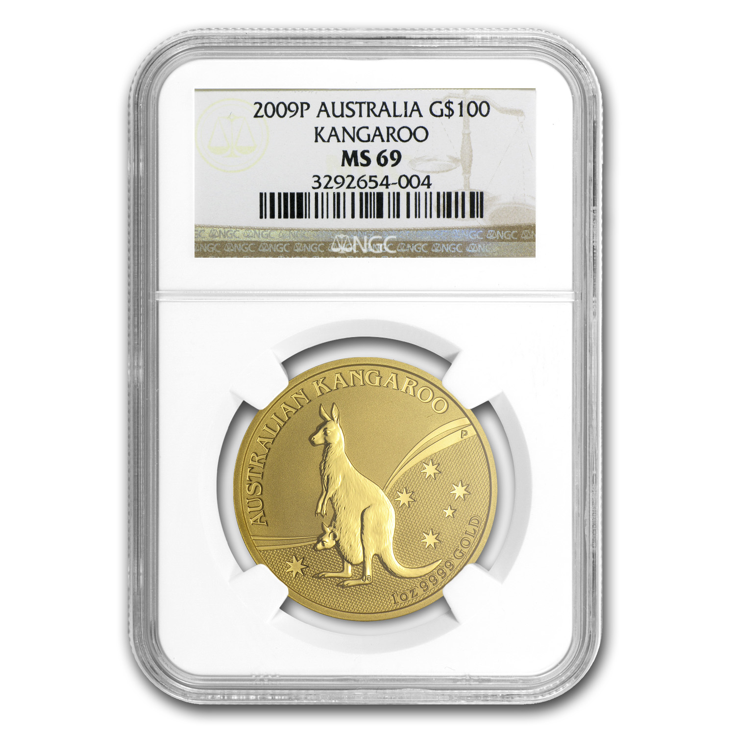 2009 5-Coin Australian Gold Kangaroo Set MS-69 NGC