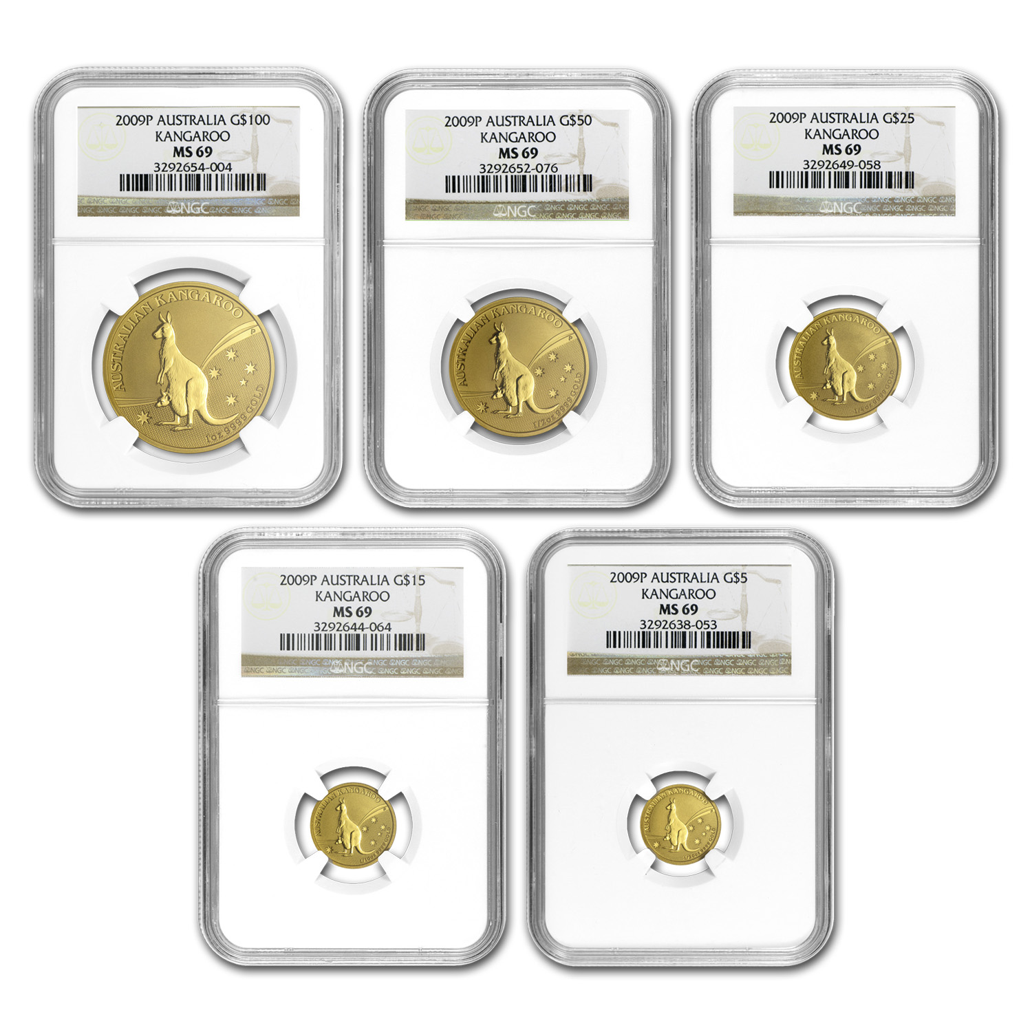 2009 Australia 5-Coin Gold Kangaroo Set MS-69 NGC