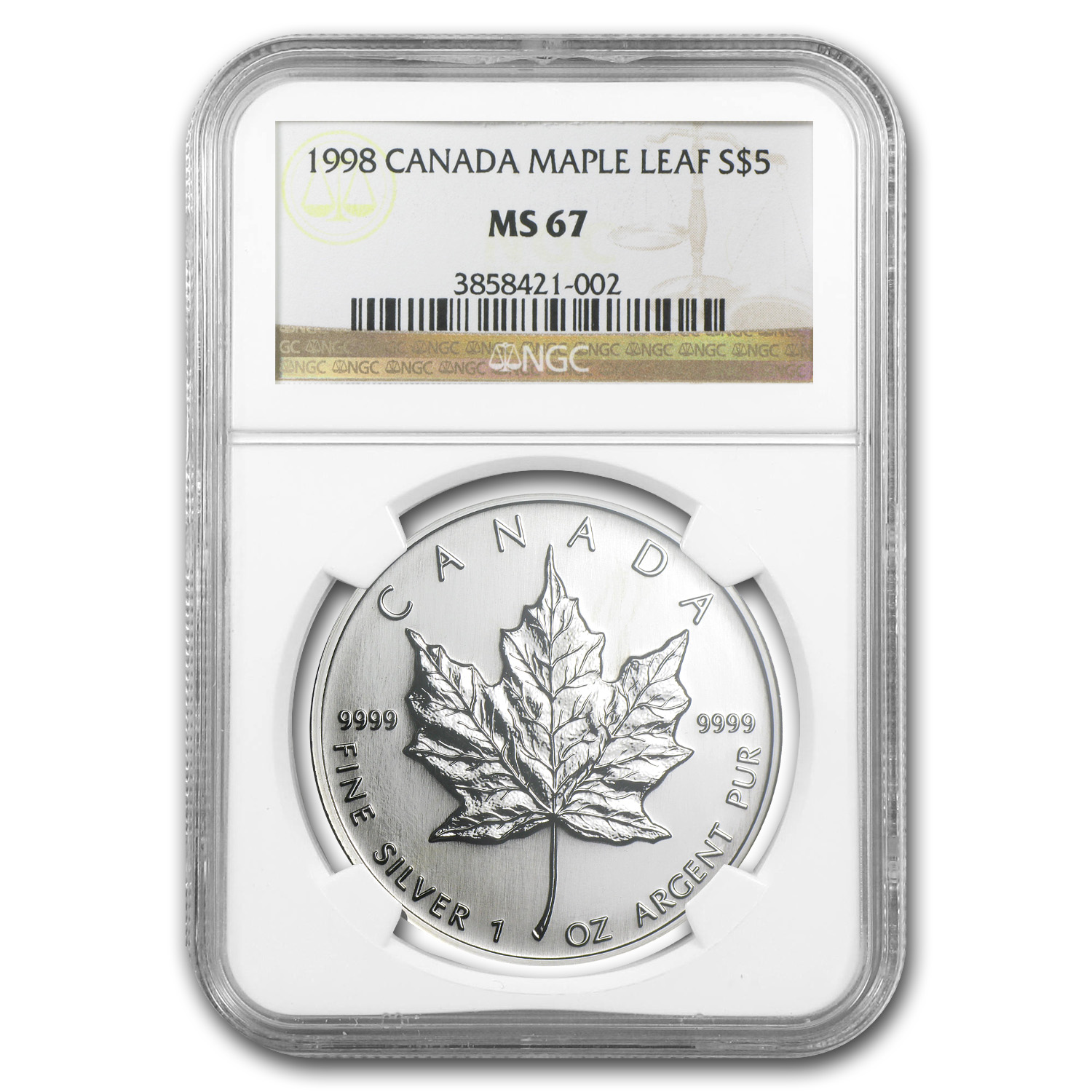 1998 1 oz Silver Canadian Maple Leaf MS-67 NGC