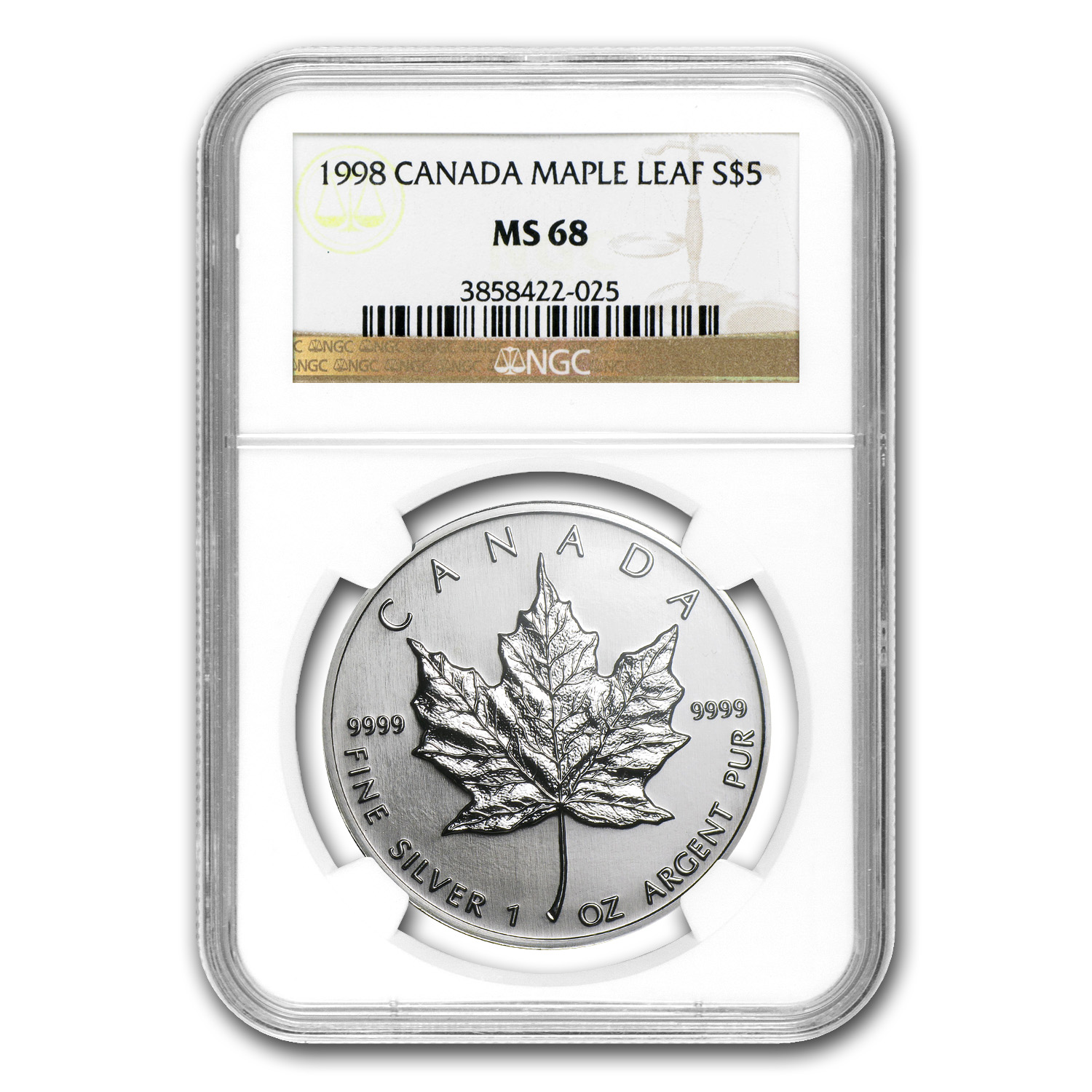 1998 1 oz Silver Canadian Maple Leaf MS-68 NGC
