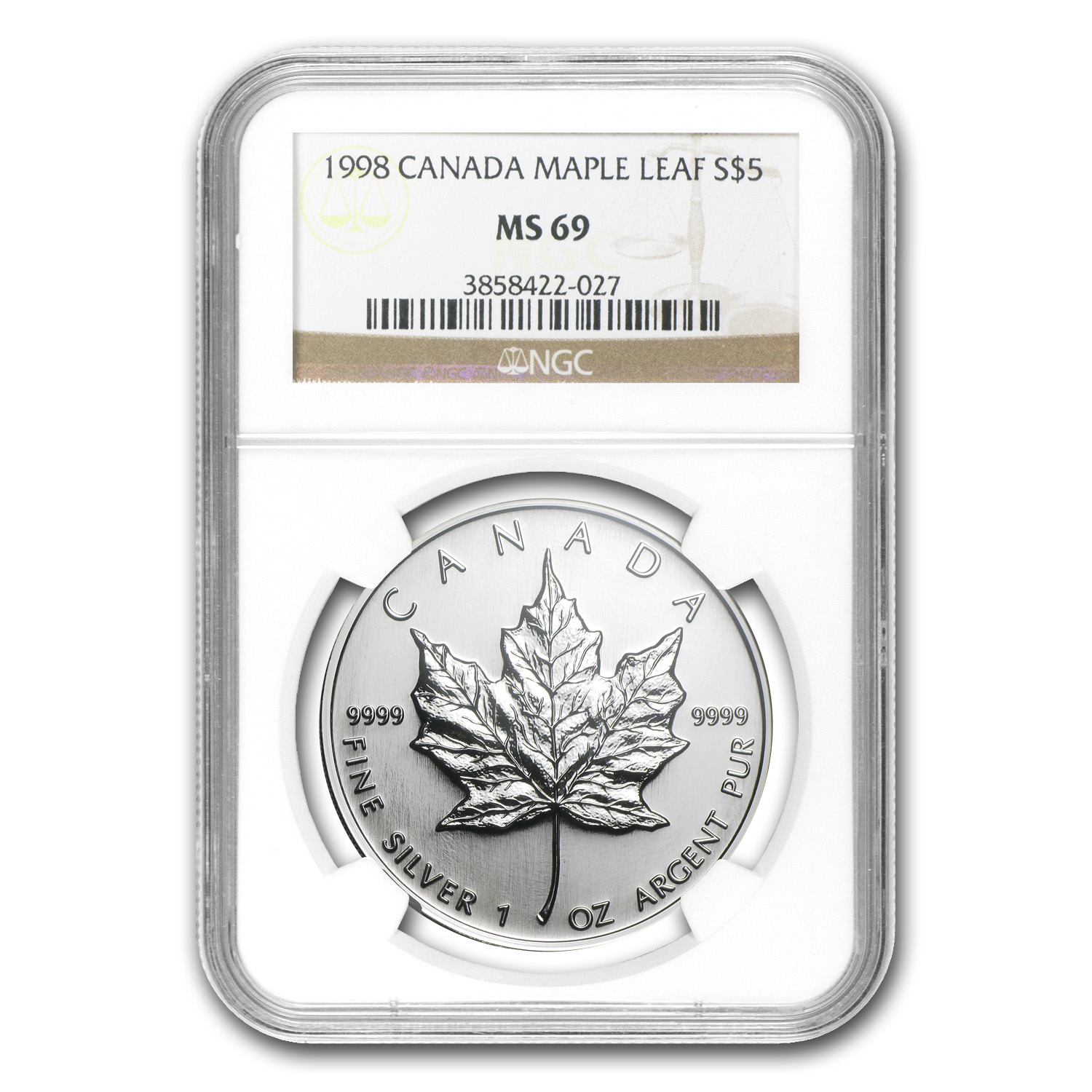 1998 1 oz Silver Canadian Maple Leaf MS-69 NGC